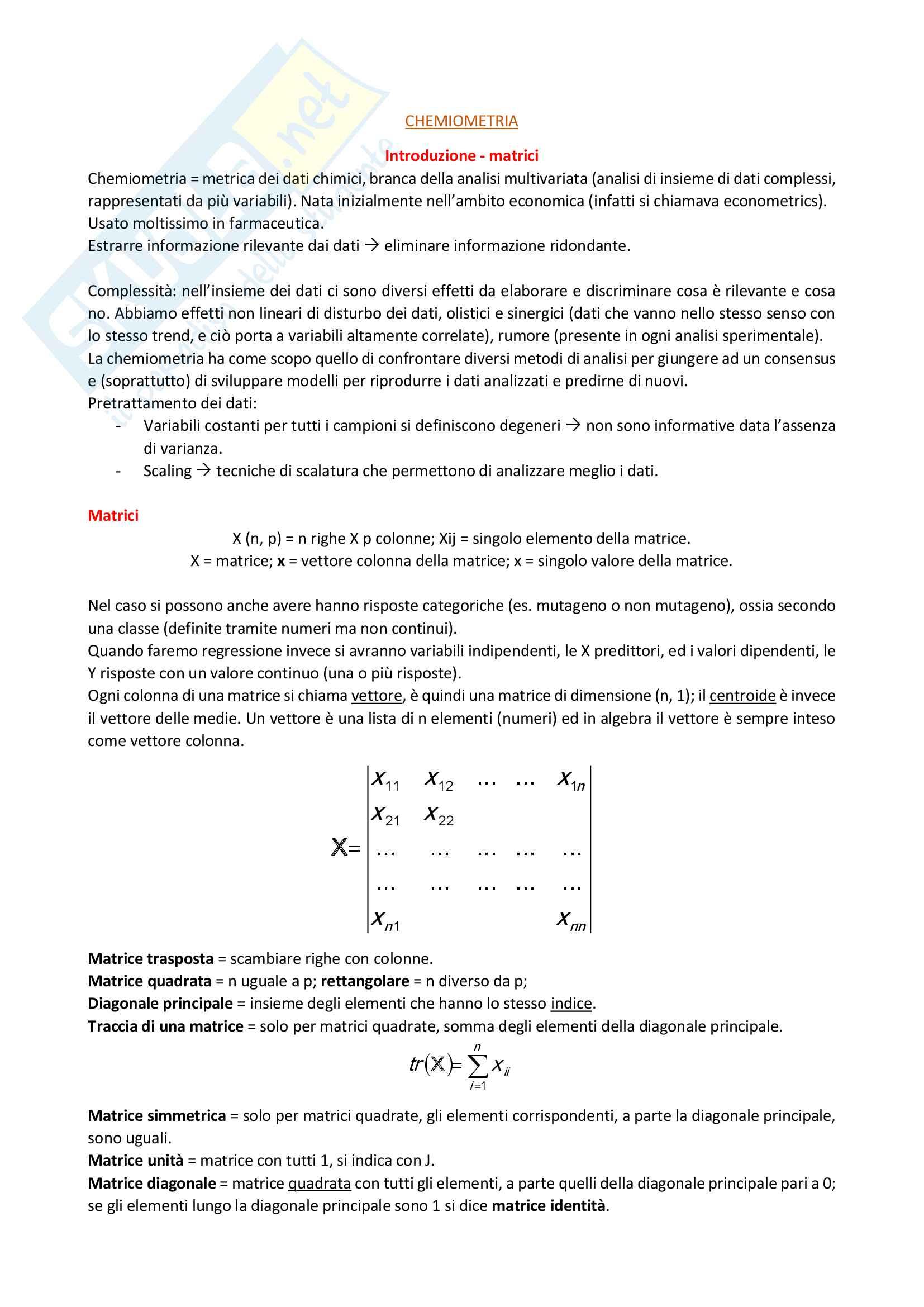 Chemiometria, prof: E. Papa