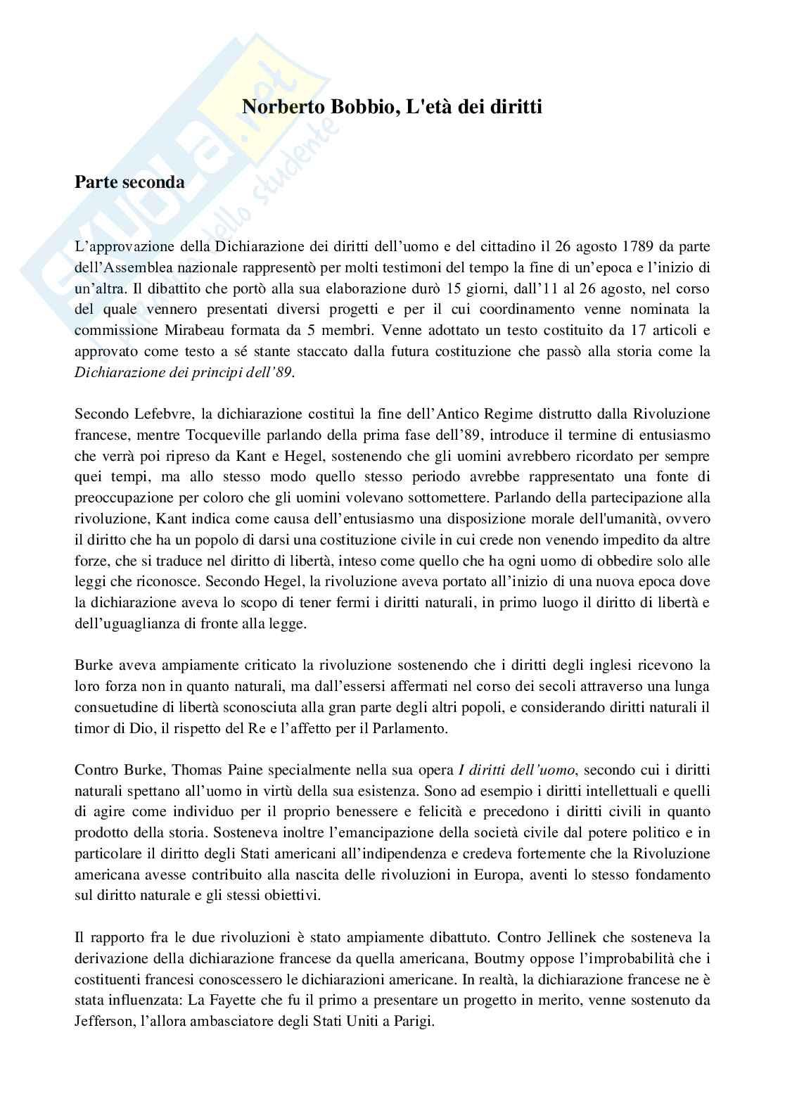 Appunti esame Storia del pensiero politico dei diritti umani, prof. Castelli, La Rivoluzione francese, i diritti dell'uomo e Kant