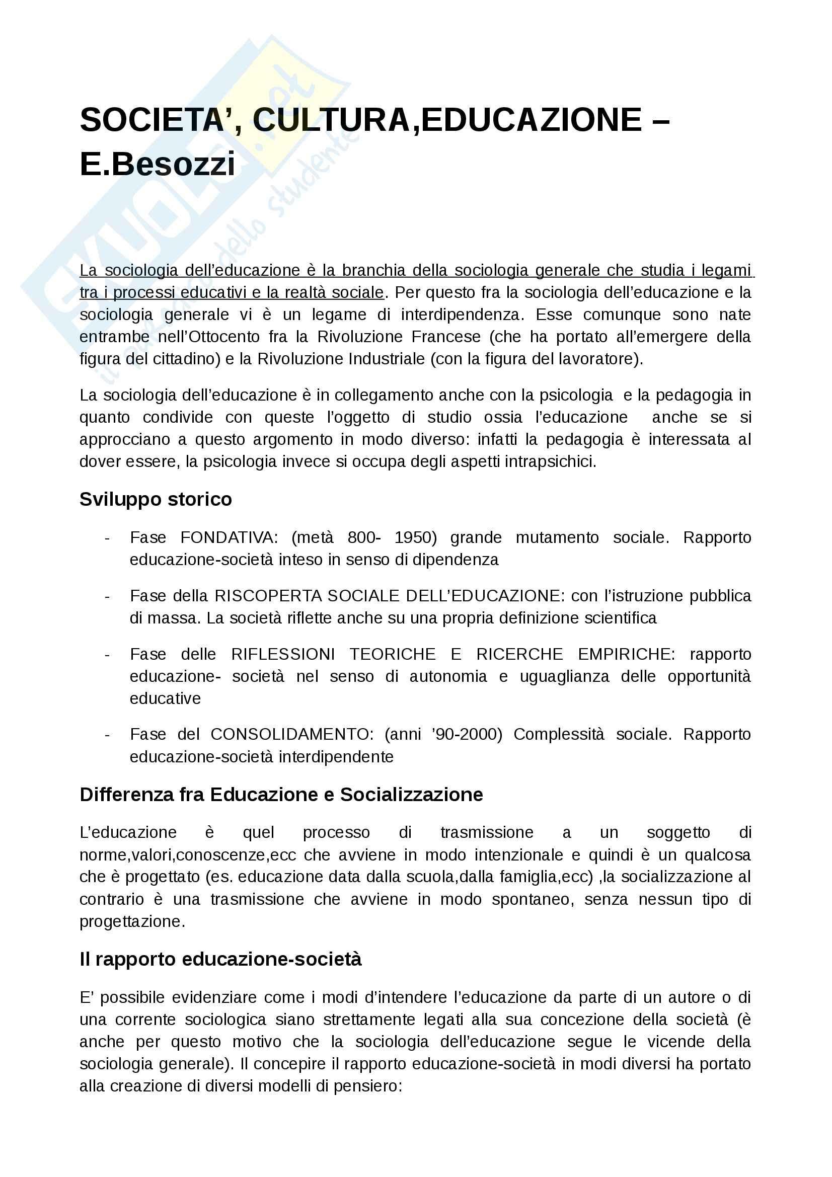 Riassunto esame Sociologia dell'educazione, prof. Giardiello, libro consigliato Società cultura educazione, Besozzi