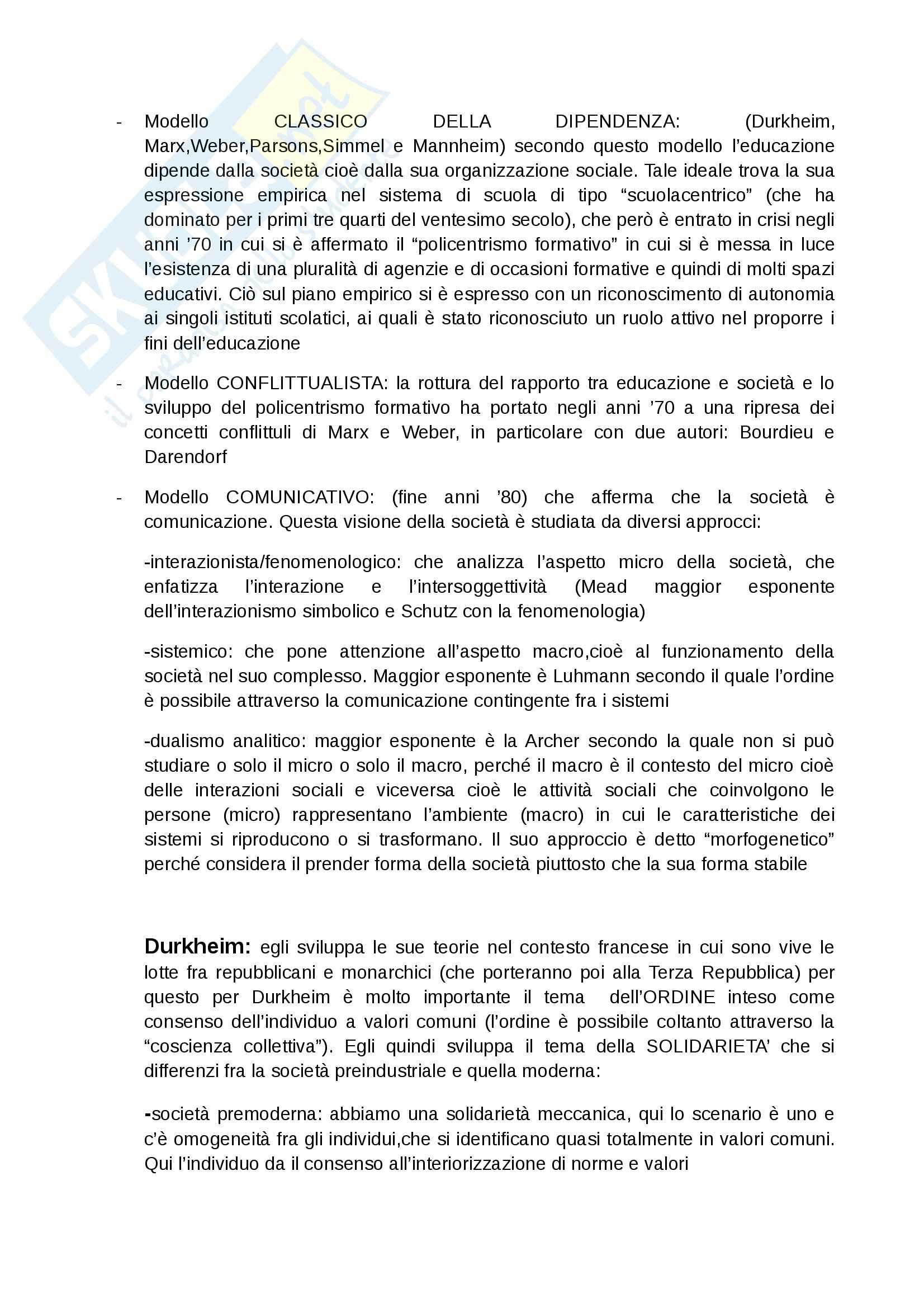 Riassunto esame Sociologia dell'educazione, prof. Giardiello, libro consigliato Società cultura educazione, Besozzi Pag. 2