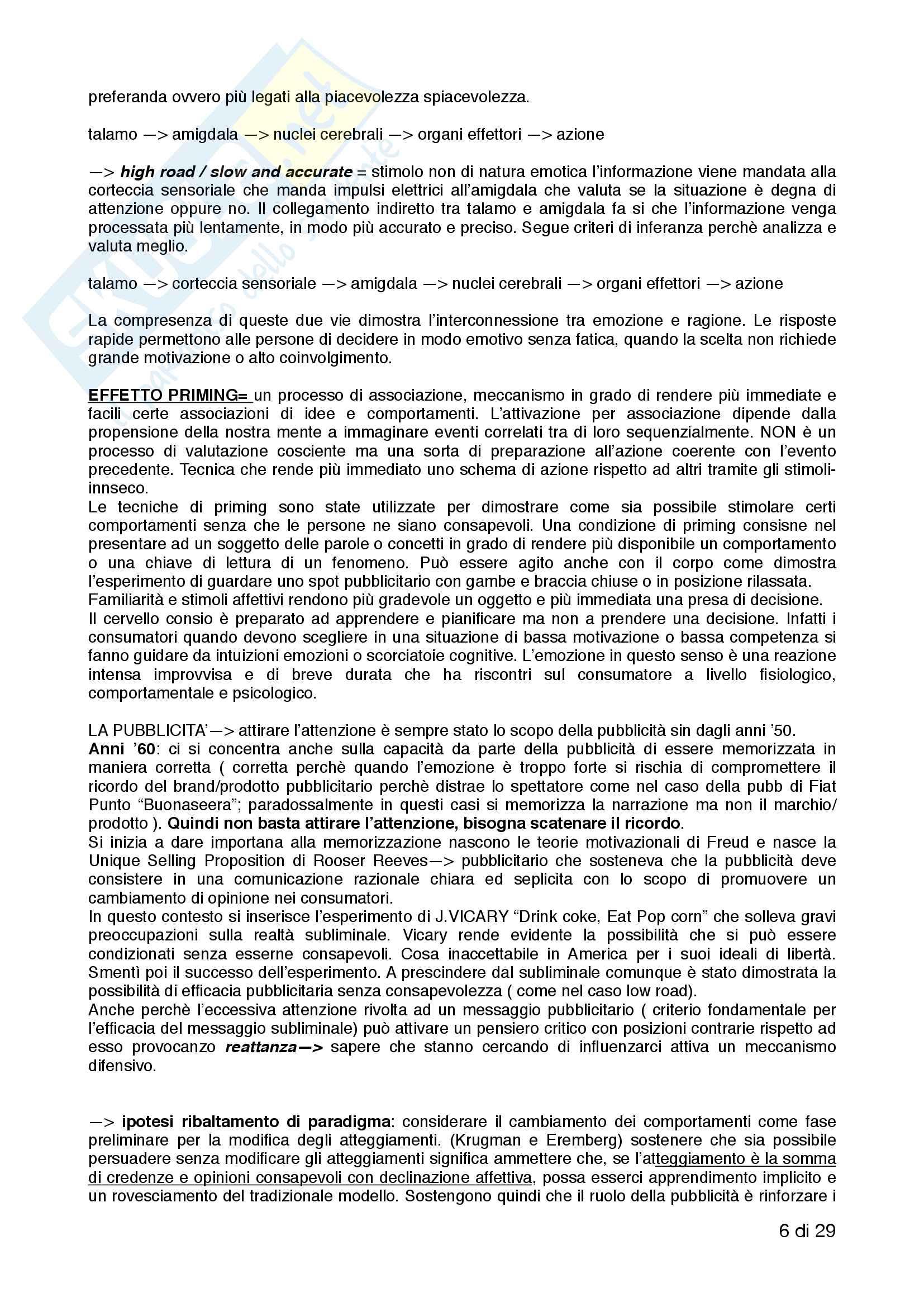 Riassunto esame Psicologia della comunicazione audiovisiva, Prof. Russo, libro consigliato Neuromarketing, comunicazione e comportamenti di consumo, Russo Pag. 6
