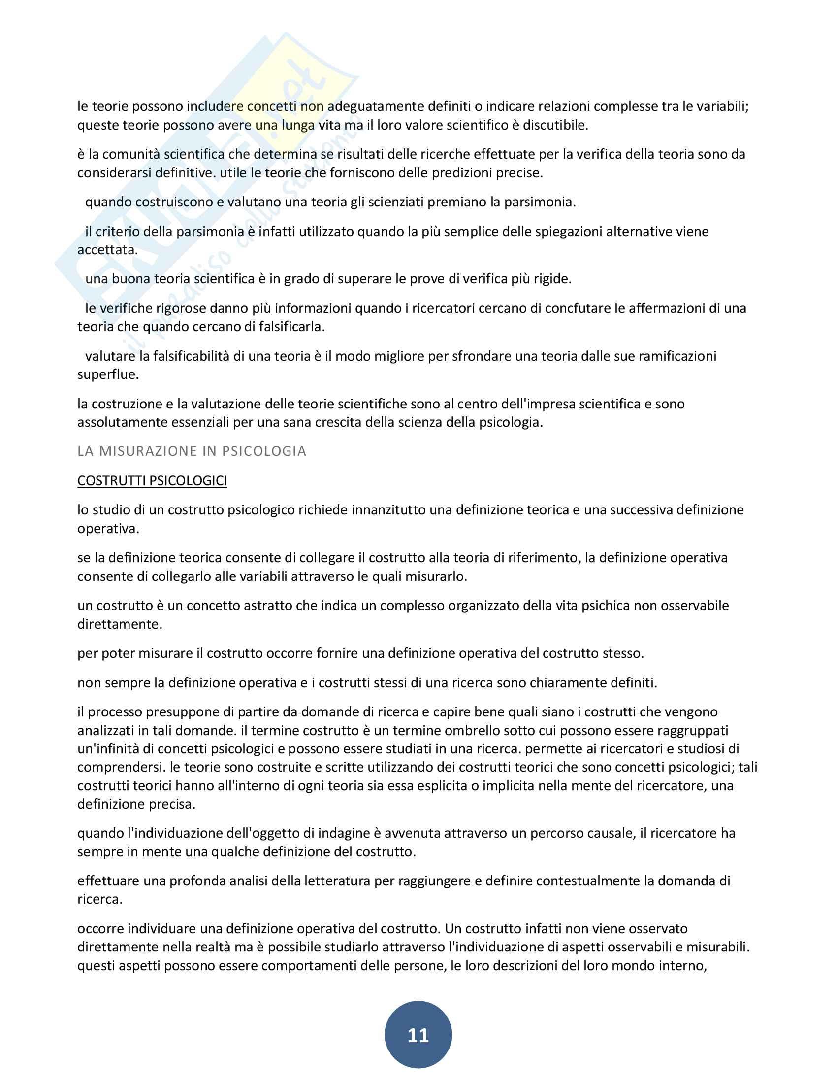 Riassunto esame Metodo della ricerca psicologica, prof. Sacco, libro consigliato Metodo della ricerca psicologica, Shaughnessy Pag. 11