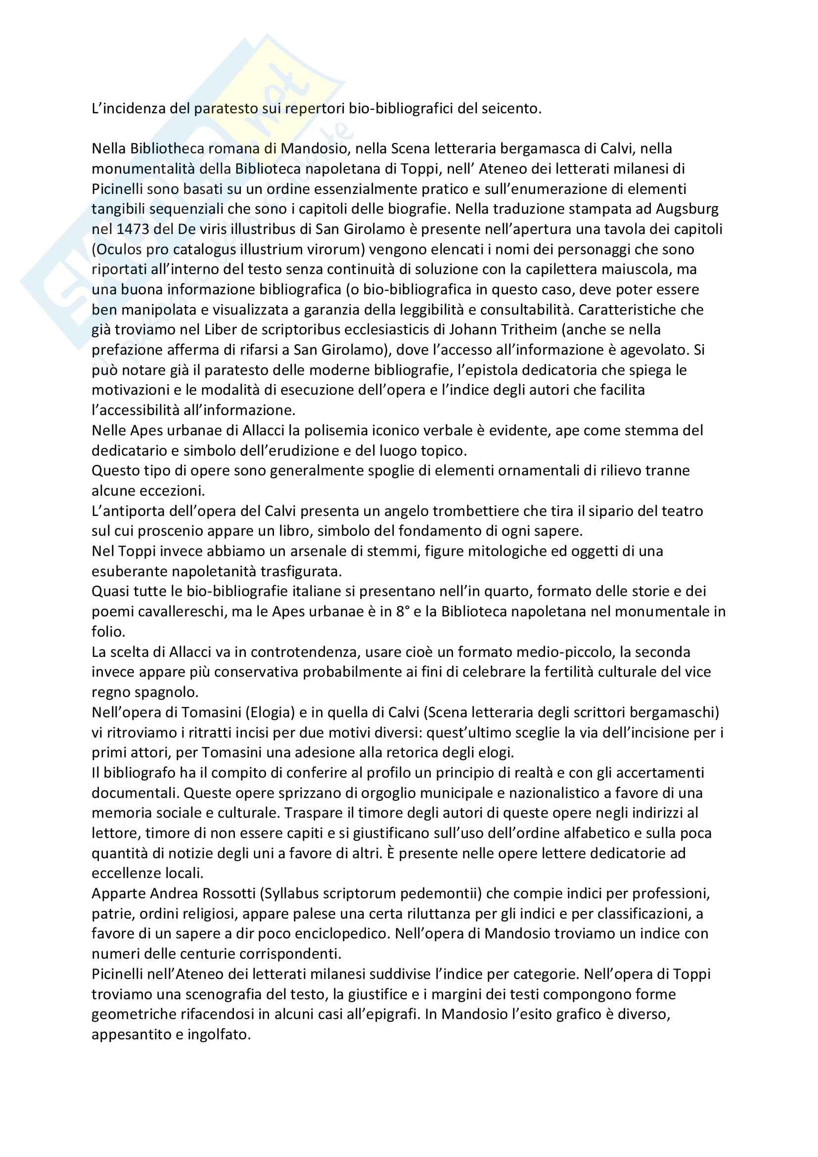 Appunti - L'informazione bibliografica, 2 parte Orlandi