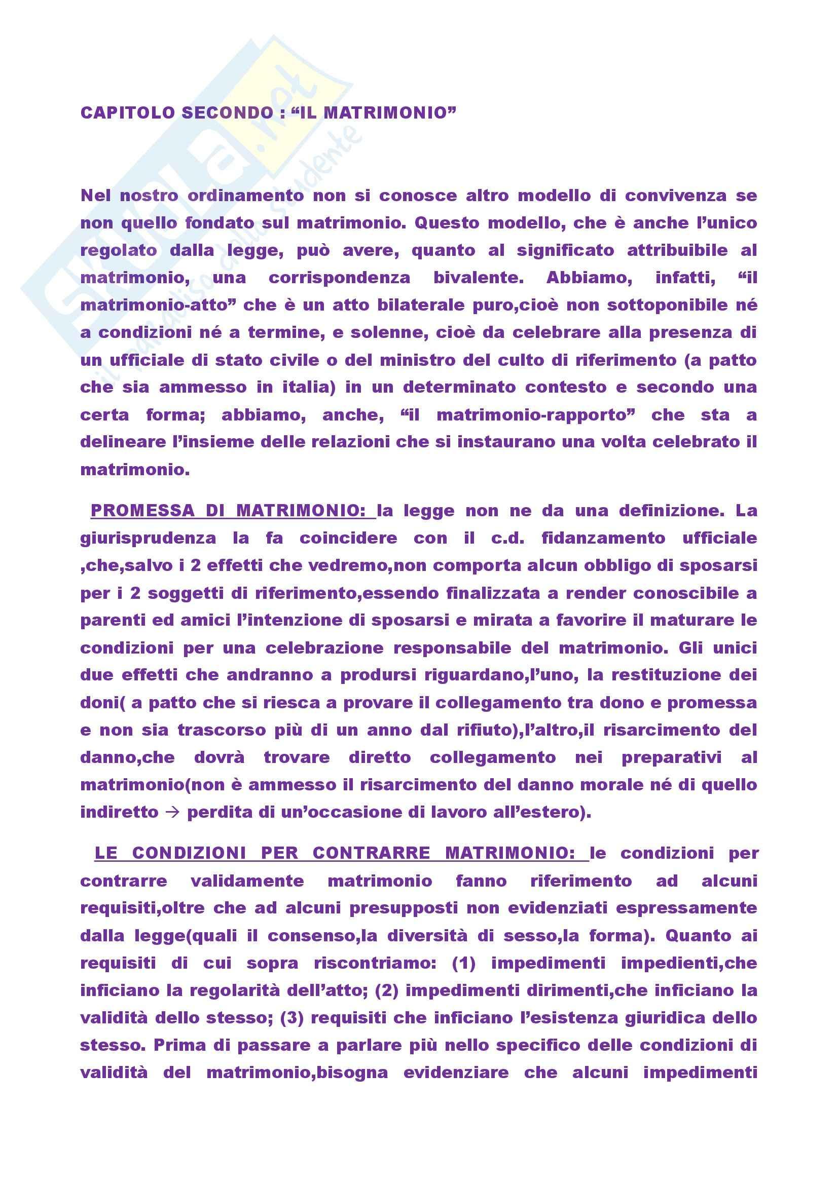Riassunto esame Diritto di Famiglia, prof. Sesta, libro consigliato Manuale di diritto di famiglia