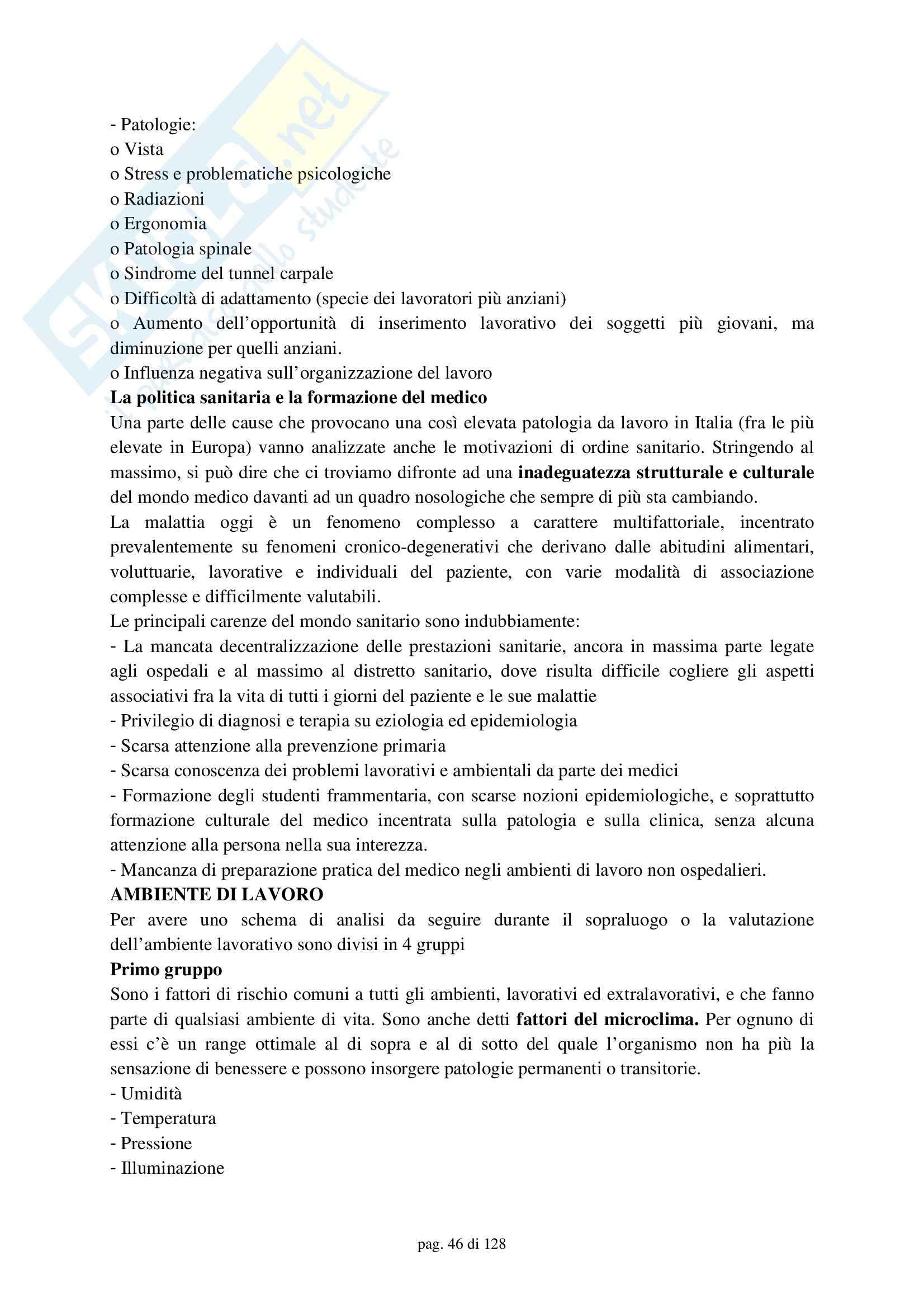 Medicina del lavoro – Compendio Pag. 46