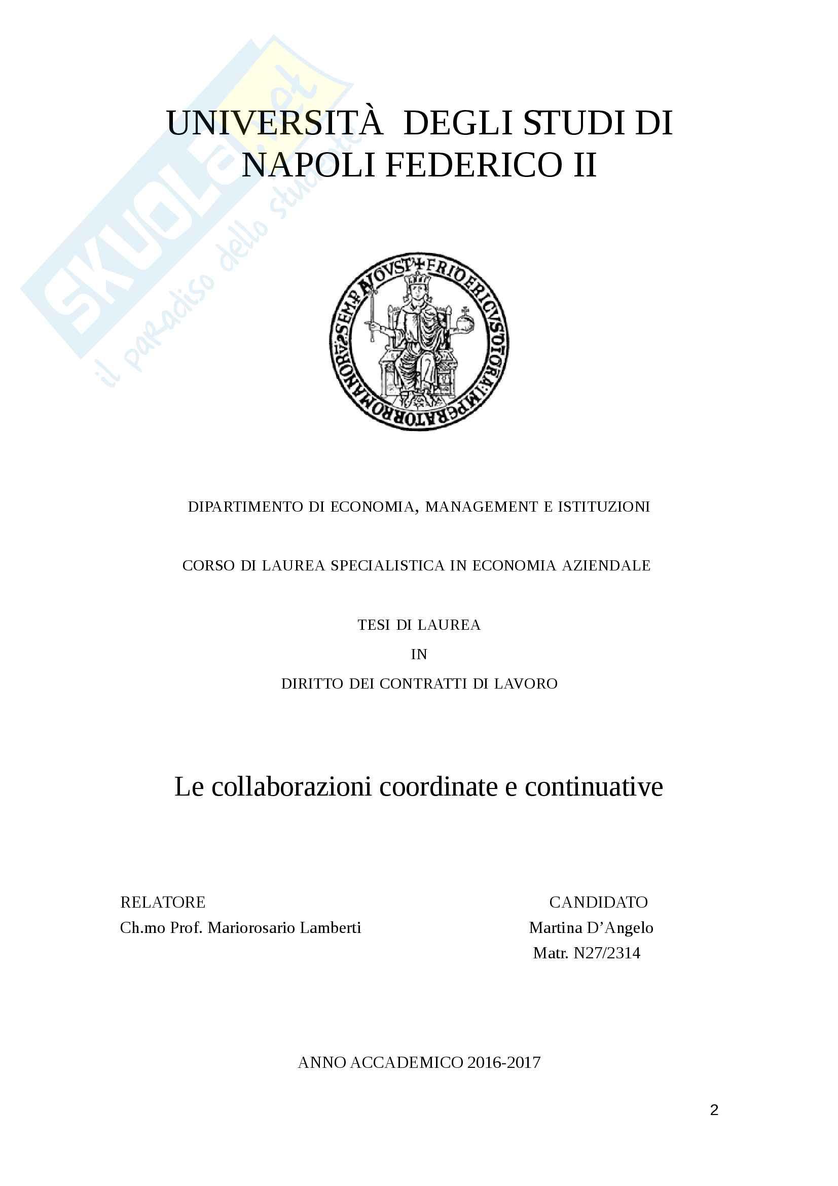 """Tesi di laurea dal titolo """"Le collaborazioni coordinate e continuative"""" Pag. 2"""
