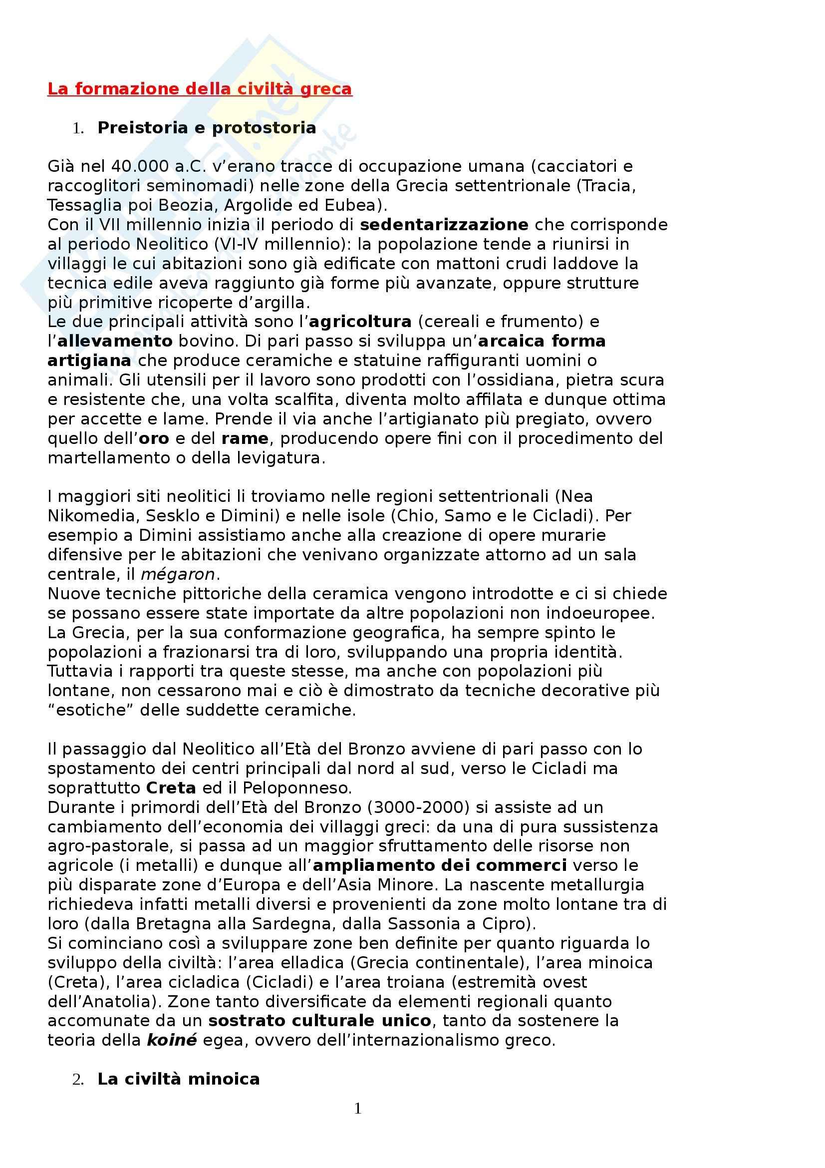 Riassunto esame Storia greca, prof. Culasso, libro consigliato Manuale di Storia greca, di C. Bearzot