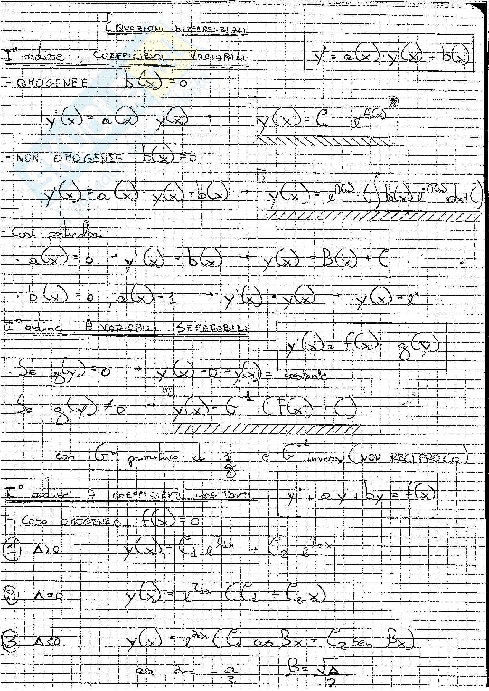Formulario, Analisi matematica II