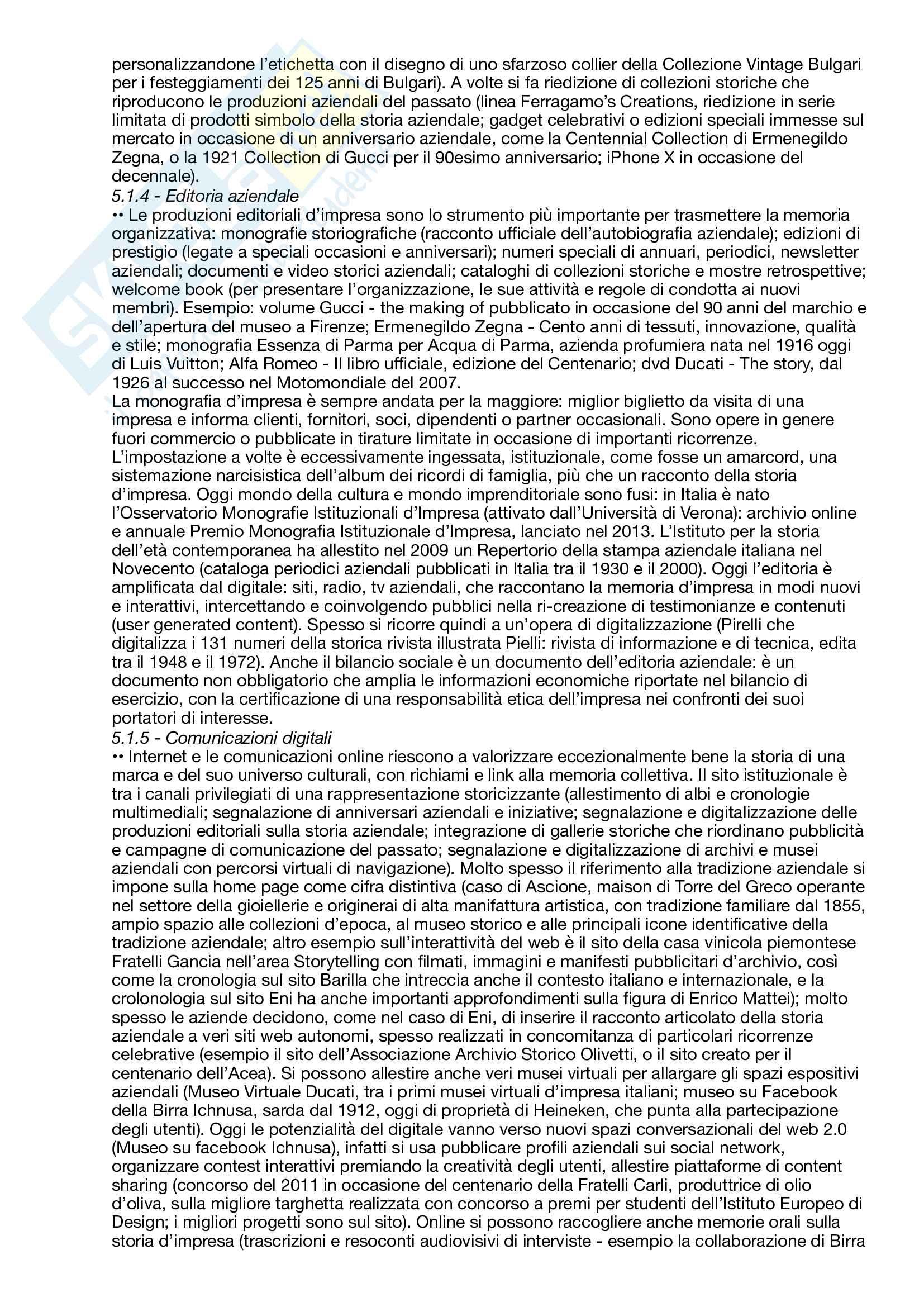 Riassunto esame Comunicazione per il management d'impresa, prof. Martino e Stancati, libro consigliato Dalle storie alla storia d'impresa - Memoria, comunicazione, heritage Pag. 16