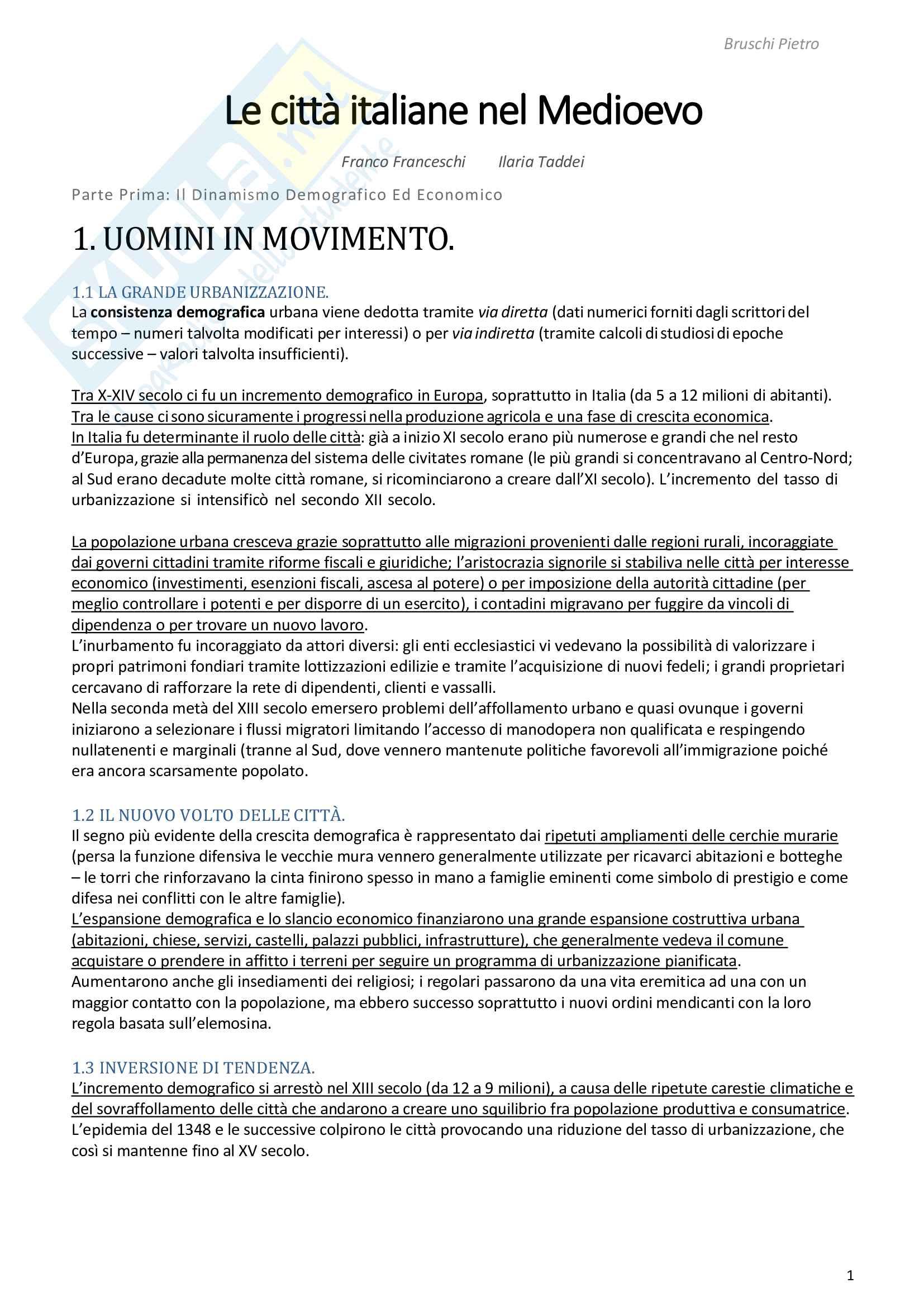 Riassunto esame Storia Medievale, prof. Zorzi, libro consigliato Le città italiane nel Medioevo, Franceschi e Taddei