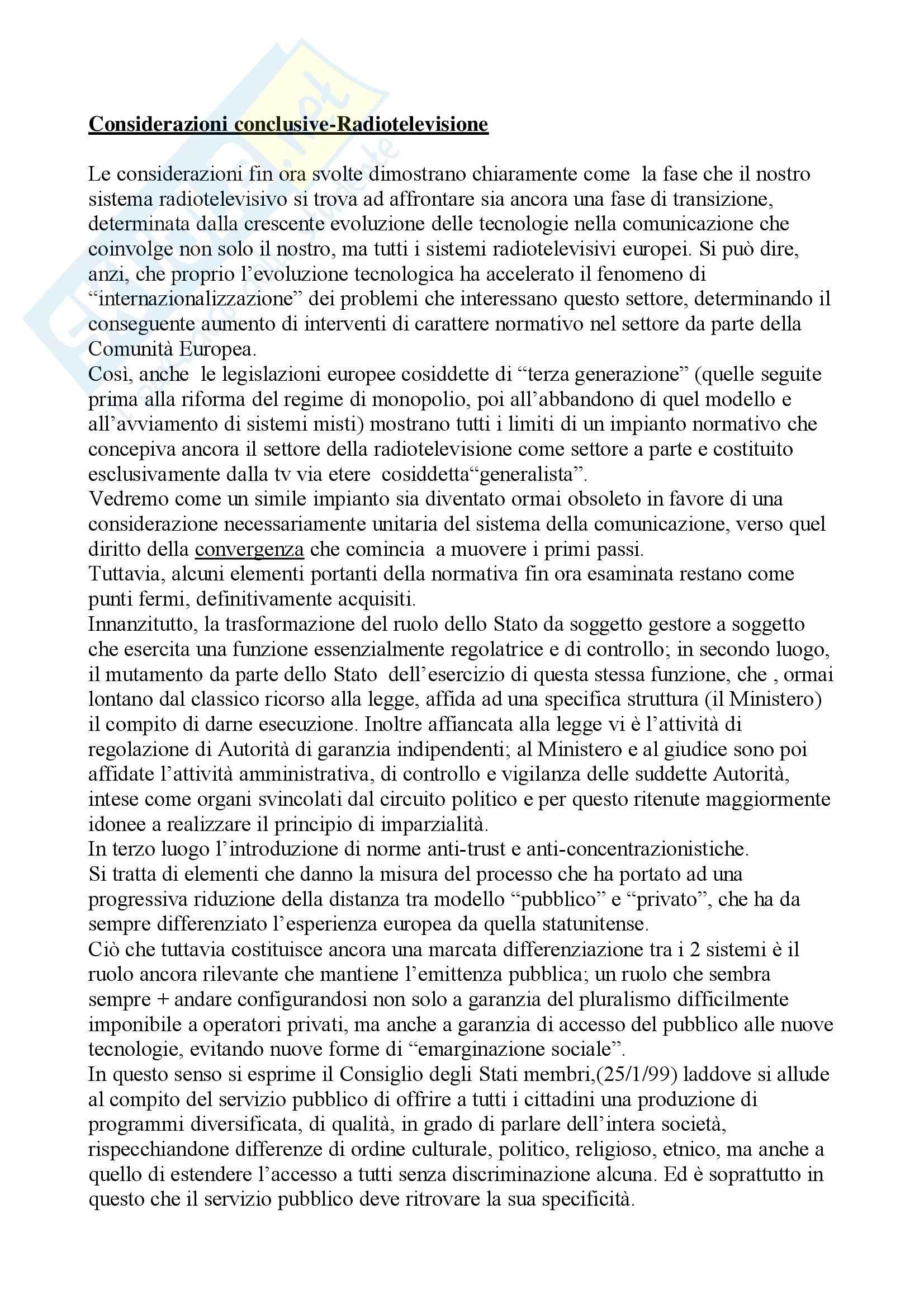 Diritto dell'informazionee della comunicazione – Radiotelevisione
