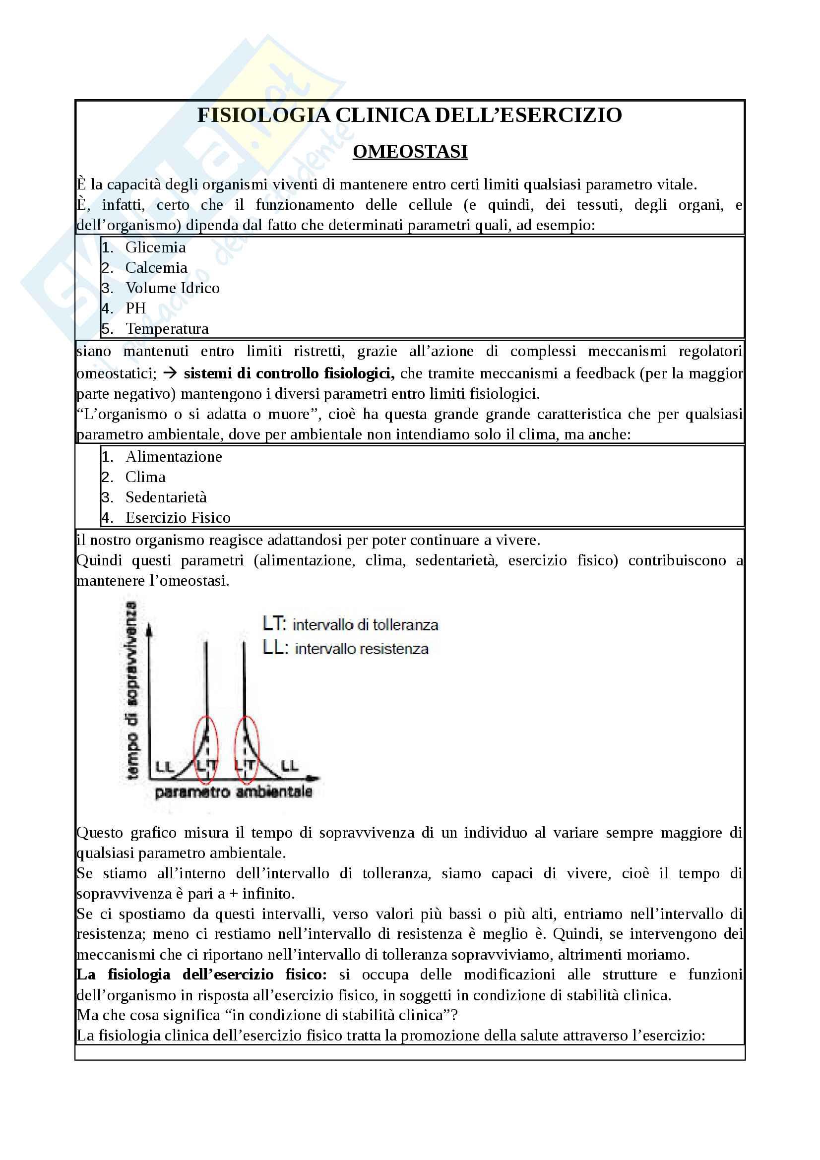 Appunti - Fisiologia clinica dell'esercizio