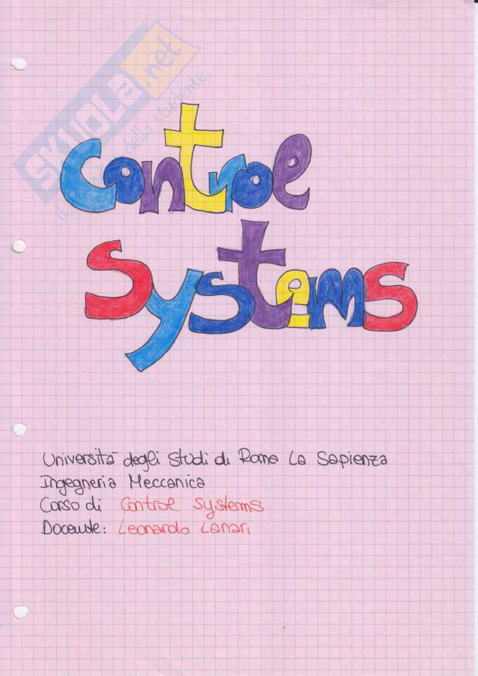 Control Systems - Appunti
