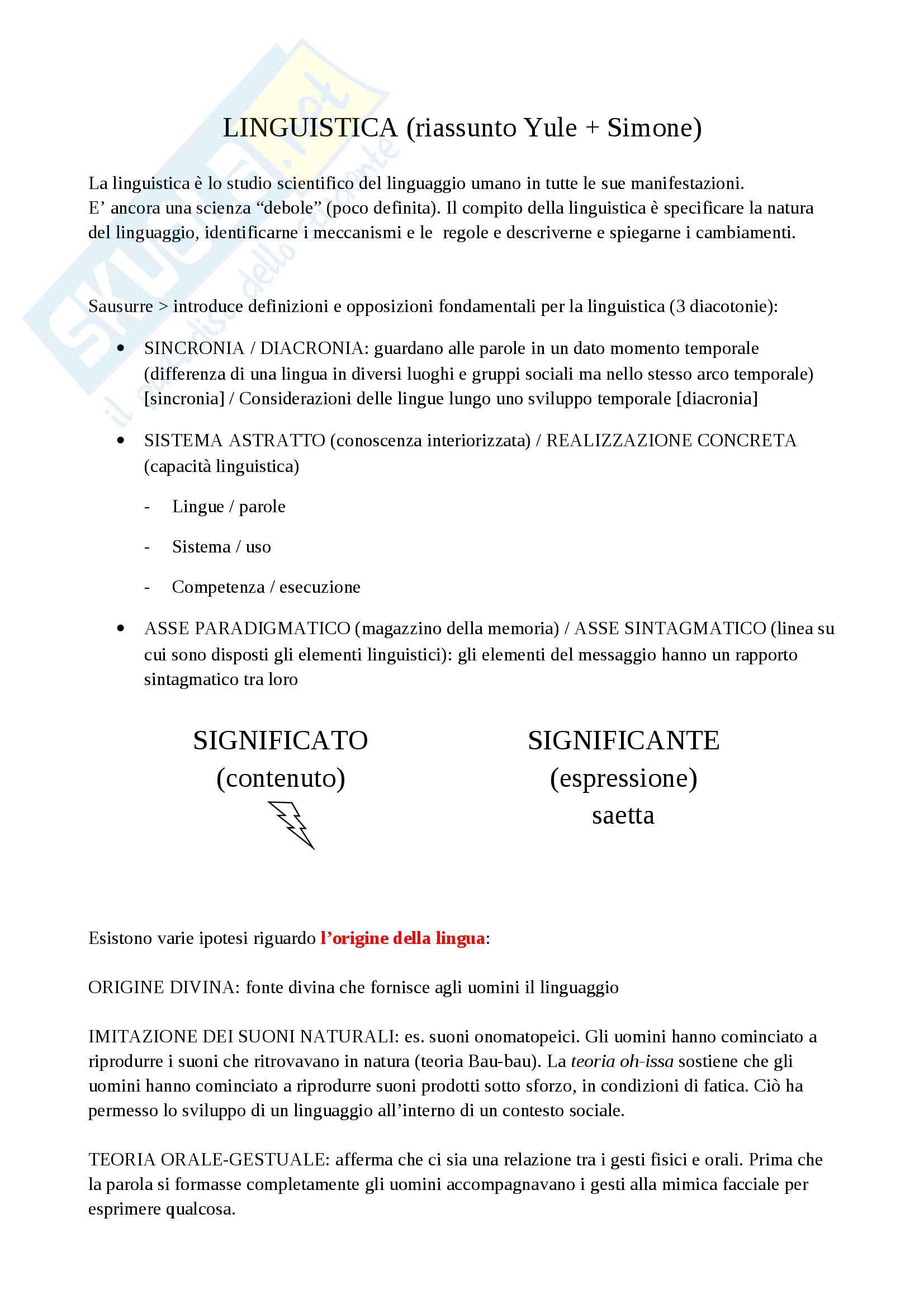Riassunto esame Linguistica e Comunicazione, prof. Maria Catricalà