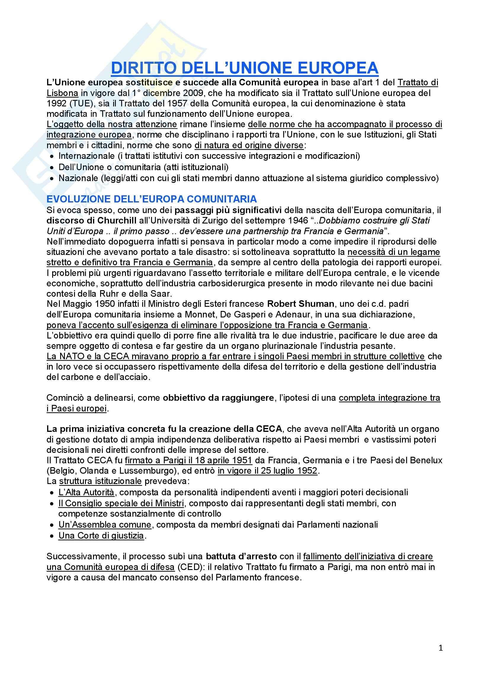 Diritto dell'Unione Europea, Tesauro - Schemi
