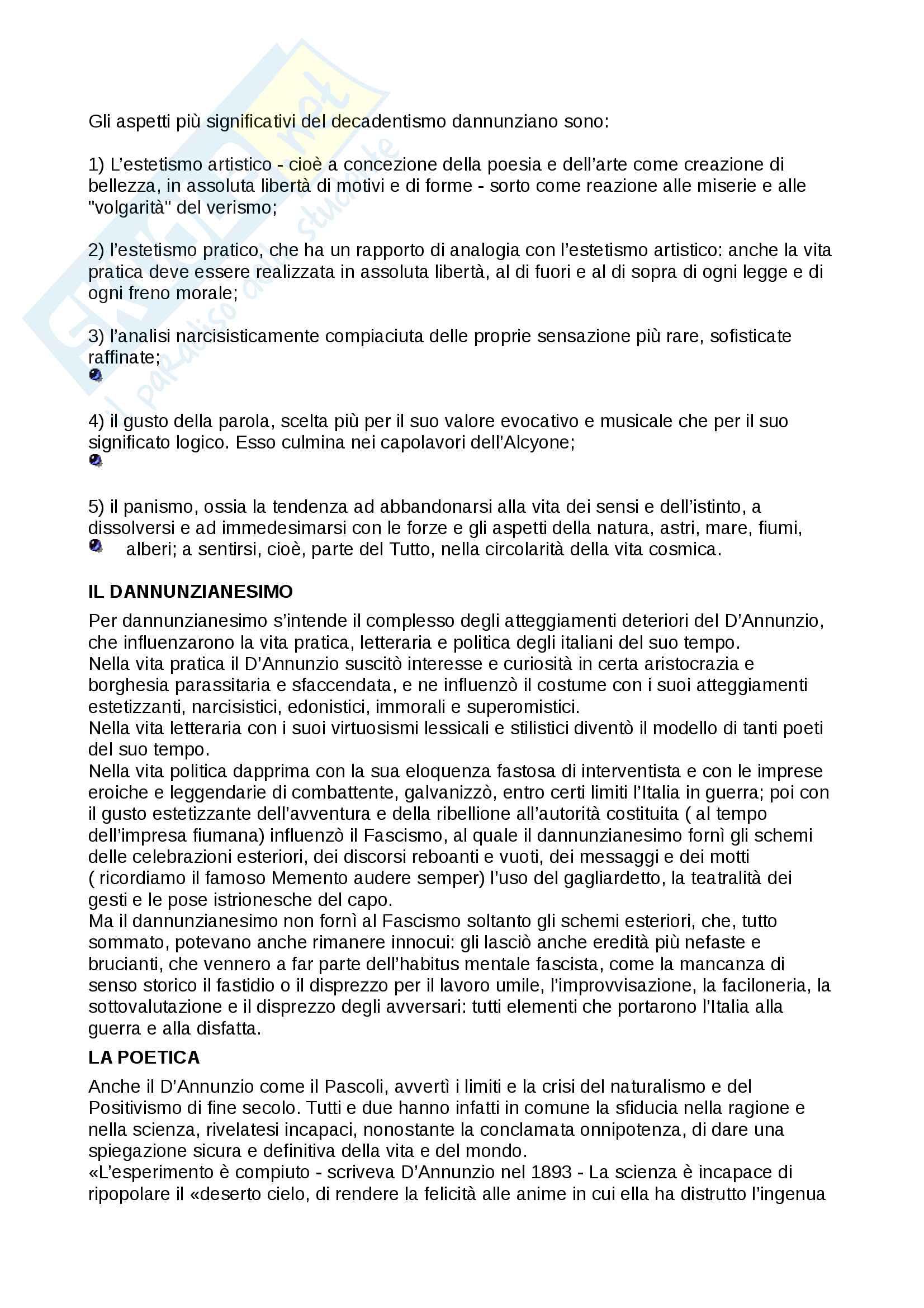 Appunti completi su D'annunzio poetica, Decadentismo e analisi Pioggia nel Pineto Pag. 6