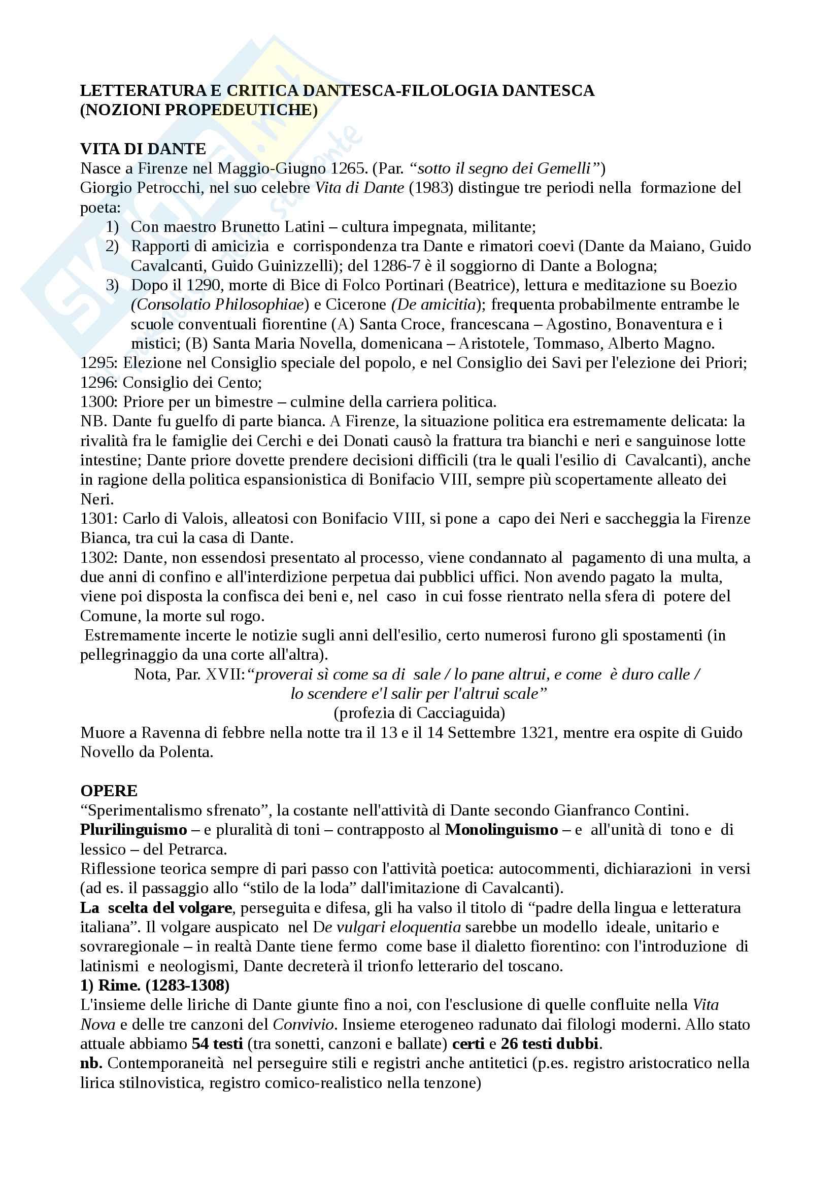 Filologia Dantesca - tutte le nozioni propedeutiche (con Hollander e Auerbach)