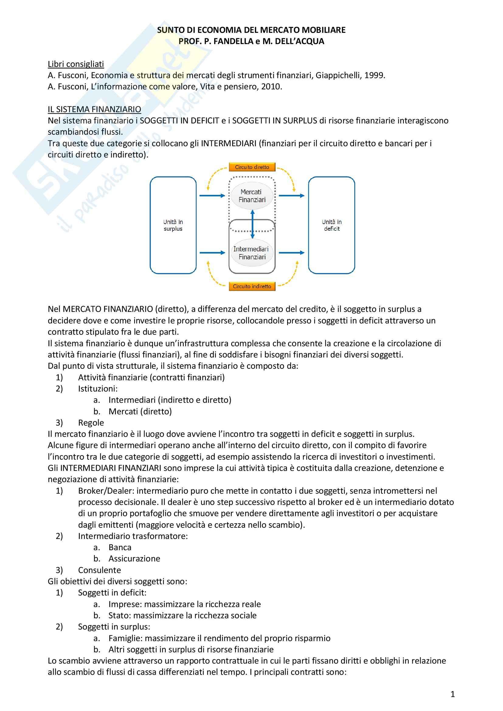 Riassunto esame Economia del Mercato Mobiliare, prof. Fandella,  libro consigliato Economia e struttura dei mercati degli strumenti finanziari, Fusconi