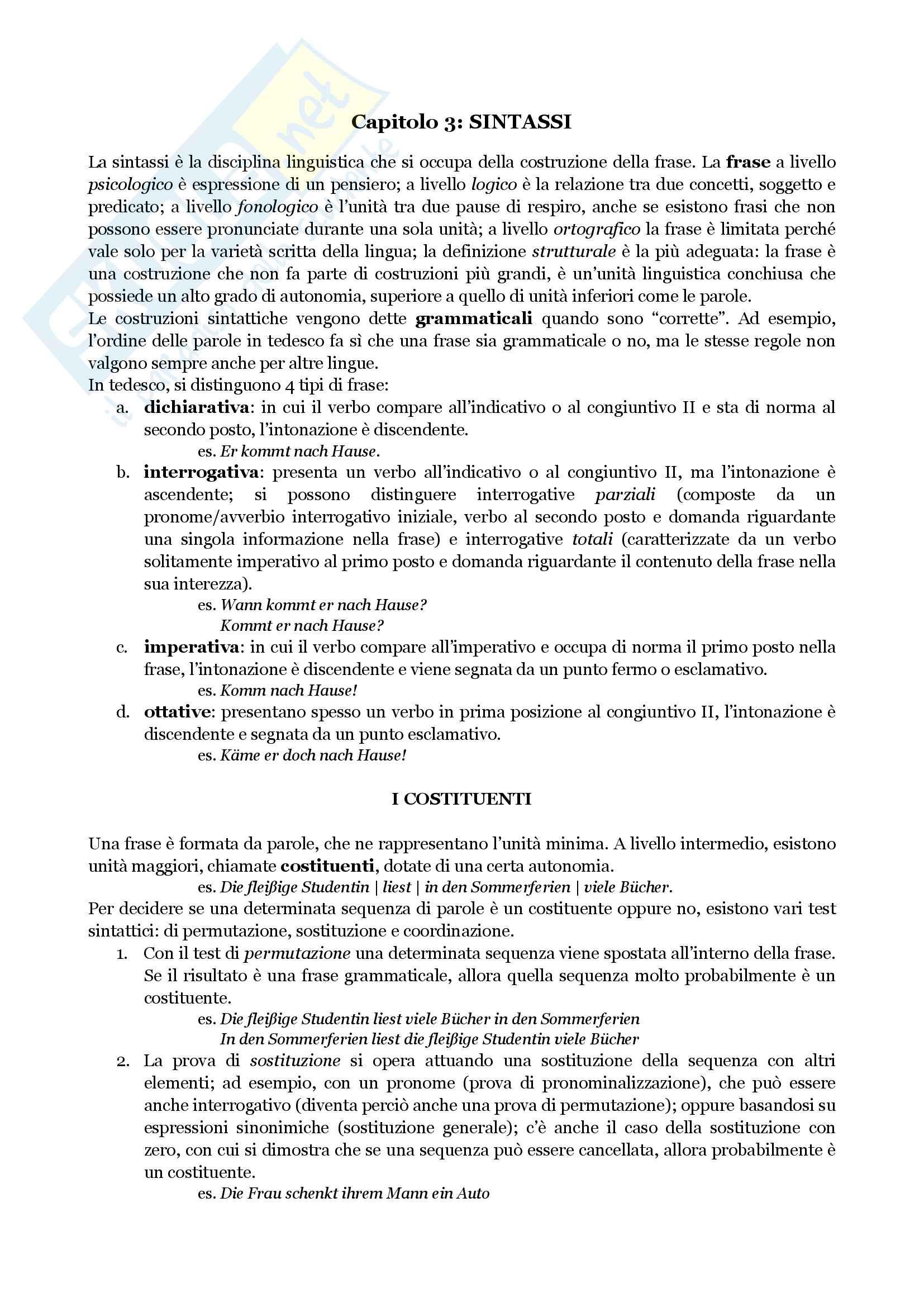 """Riassunto per l'esame di Lingua Tedesca II, prof. Di Meola, libro consigliato """"Linguistica Tedesca"""", cap. 3 e 4, Di Meola"""