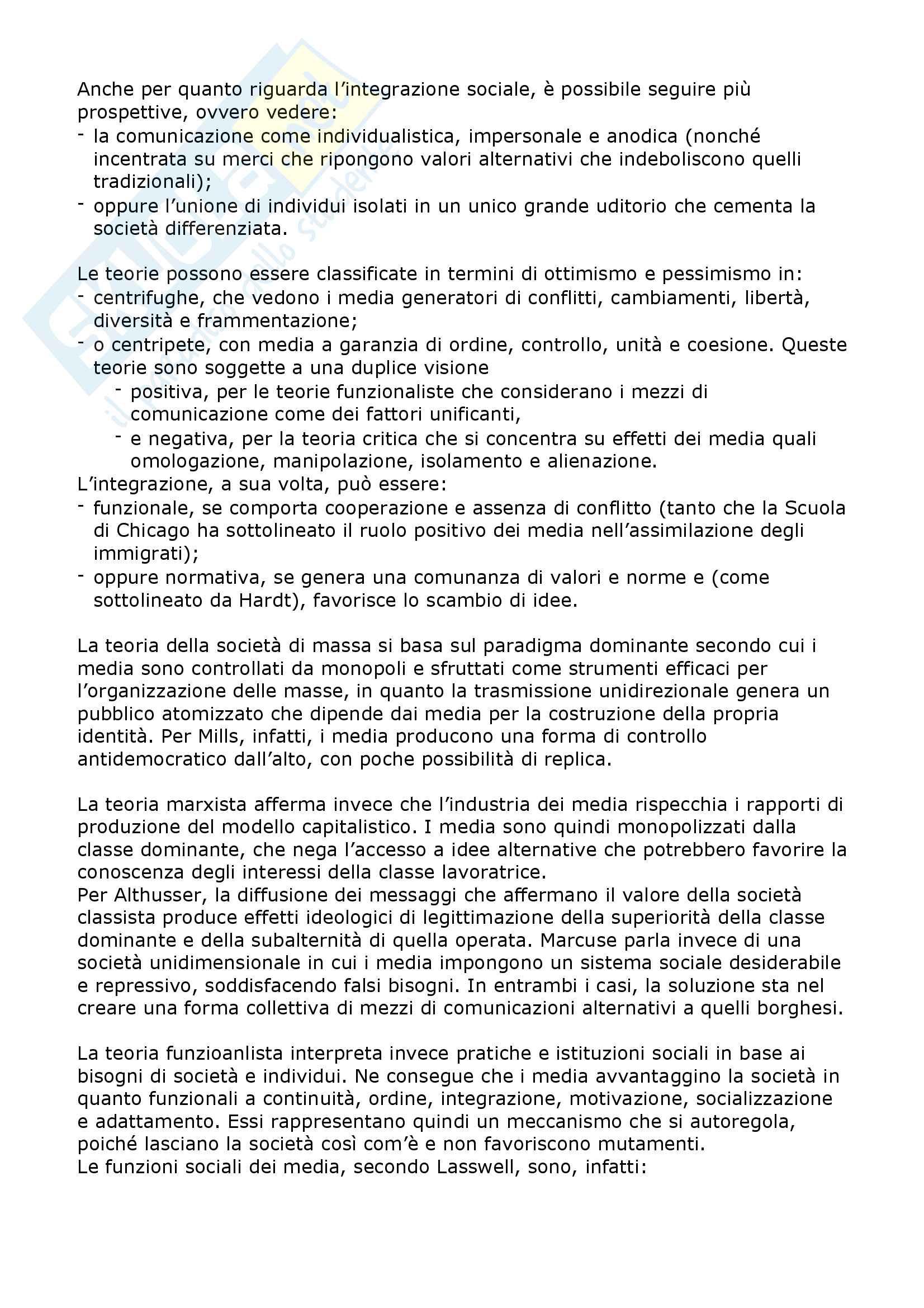 Riassunto esame Sociologia dei mass media e linguaggi del brand, prof. Valli, libro consigliato Sociologia dei media,McQuail Pag. 2