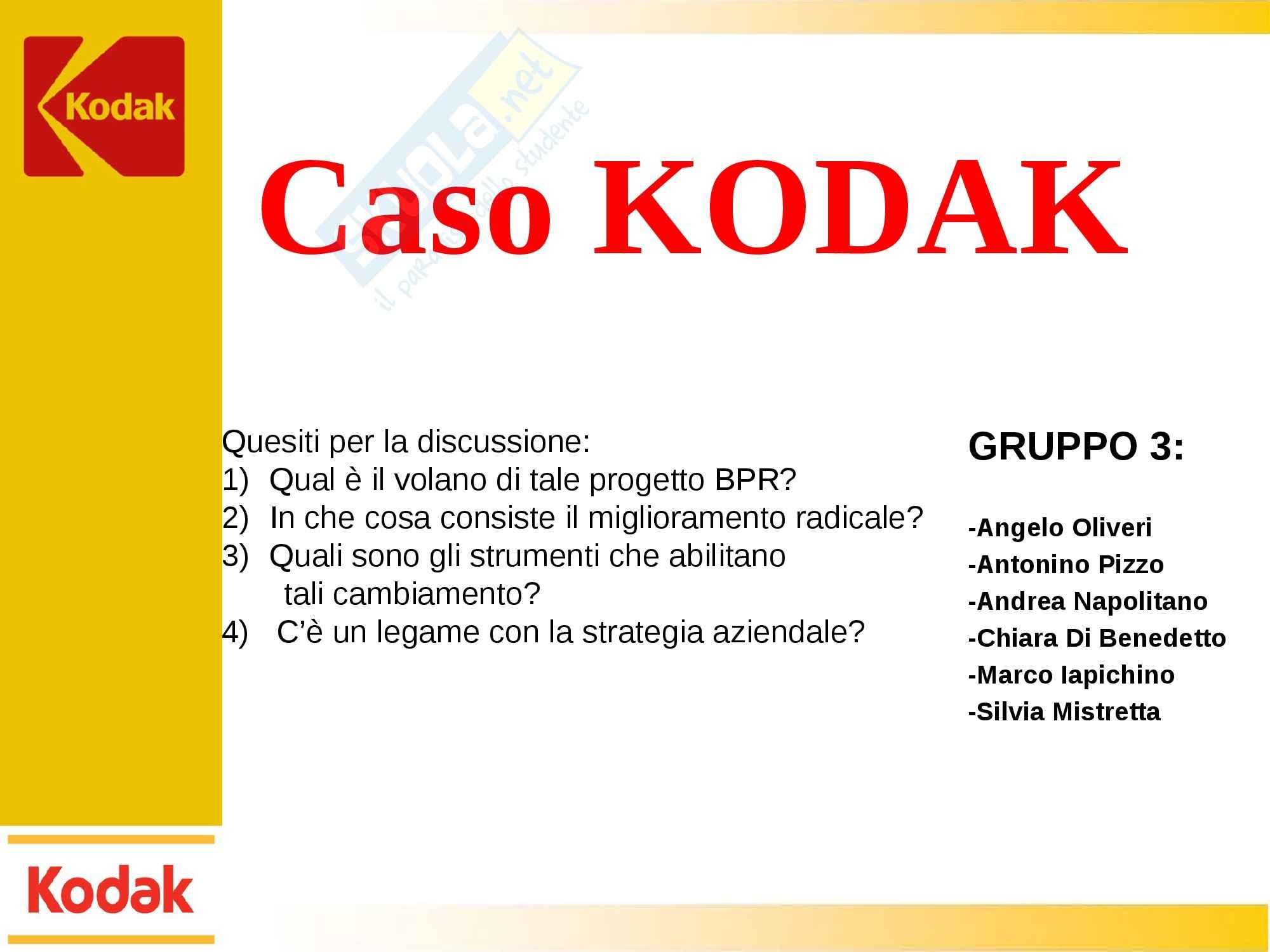 Organizzazione aziendale e gestione dei processi - caso Kodak