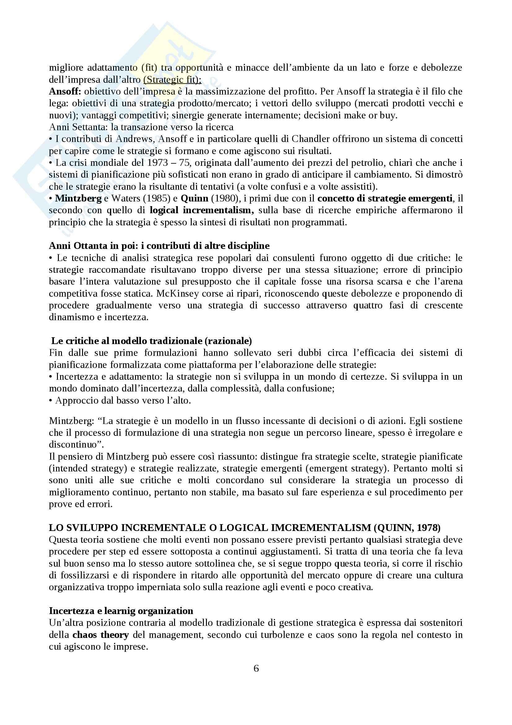 Riassunto esame Organizzazione aziendale, prof. Nacamulli, libro consigliato Strategia d'impresa, Pellicelli Pag. 6