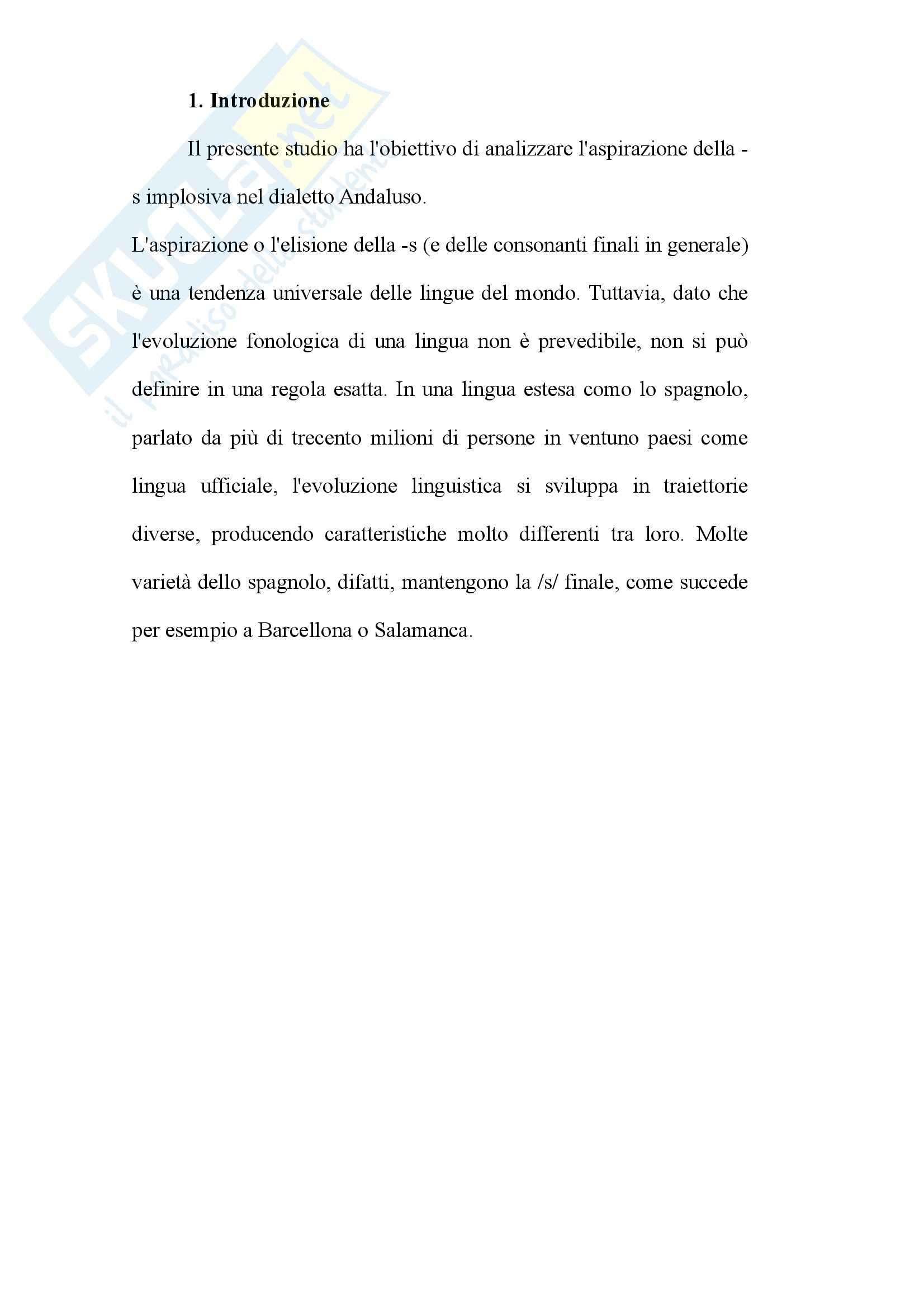 Tesi - L'aspirazione della -s implosiva nel dialetto Andaluso Pag. 2