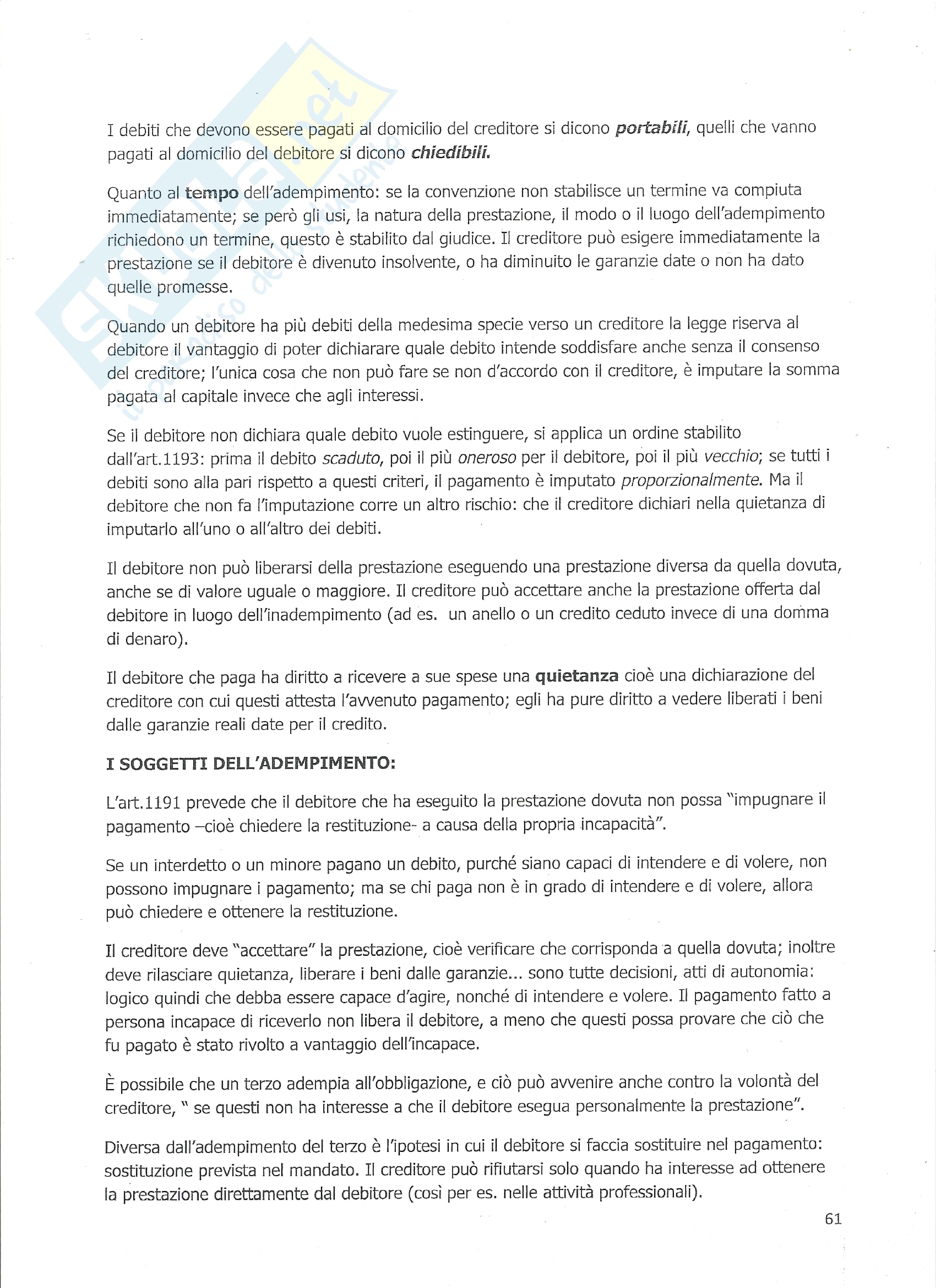 Diritto Privato - Discipline e vicende del rapporto obbligatorio Pag. 2