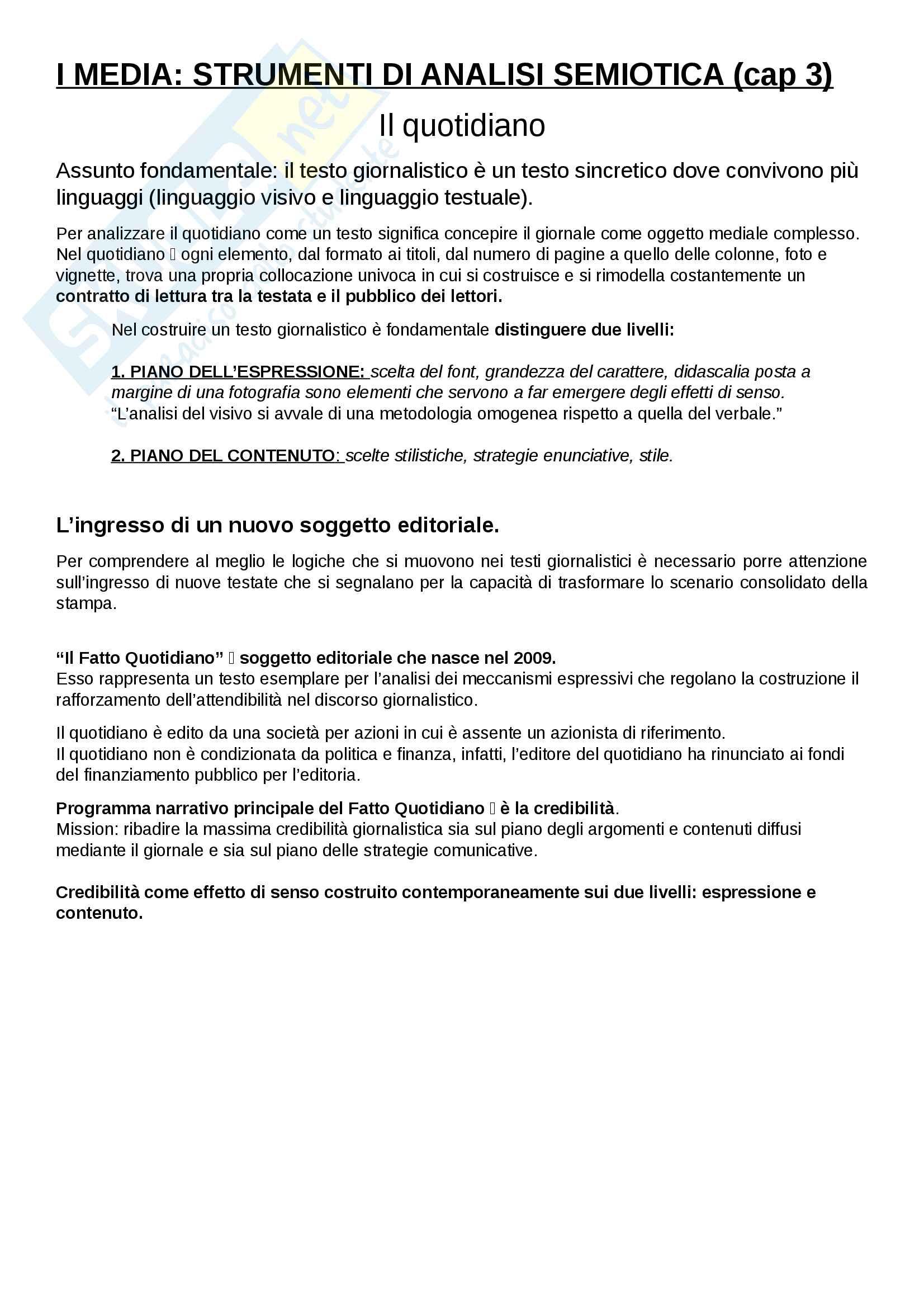Riassunto esame Semiotica del giornalismo, prof. Lorusso, libro consigliato I media: strumenti di analisi semiotica, Carocci editore