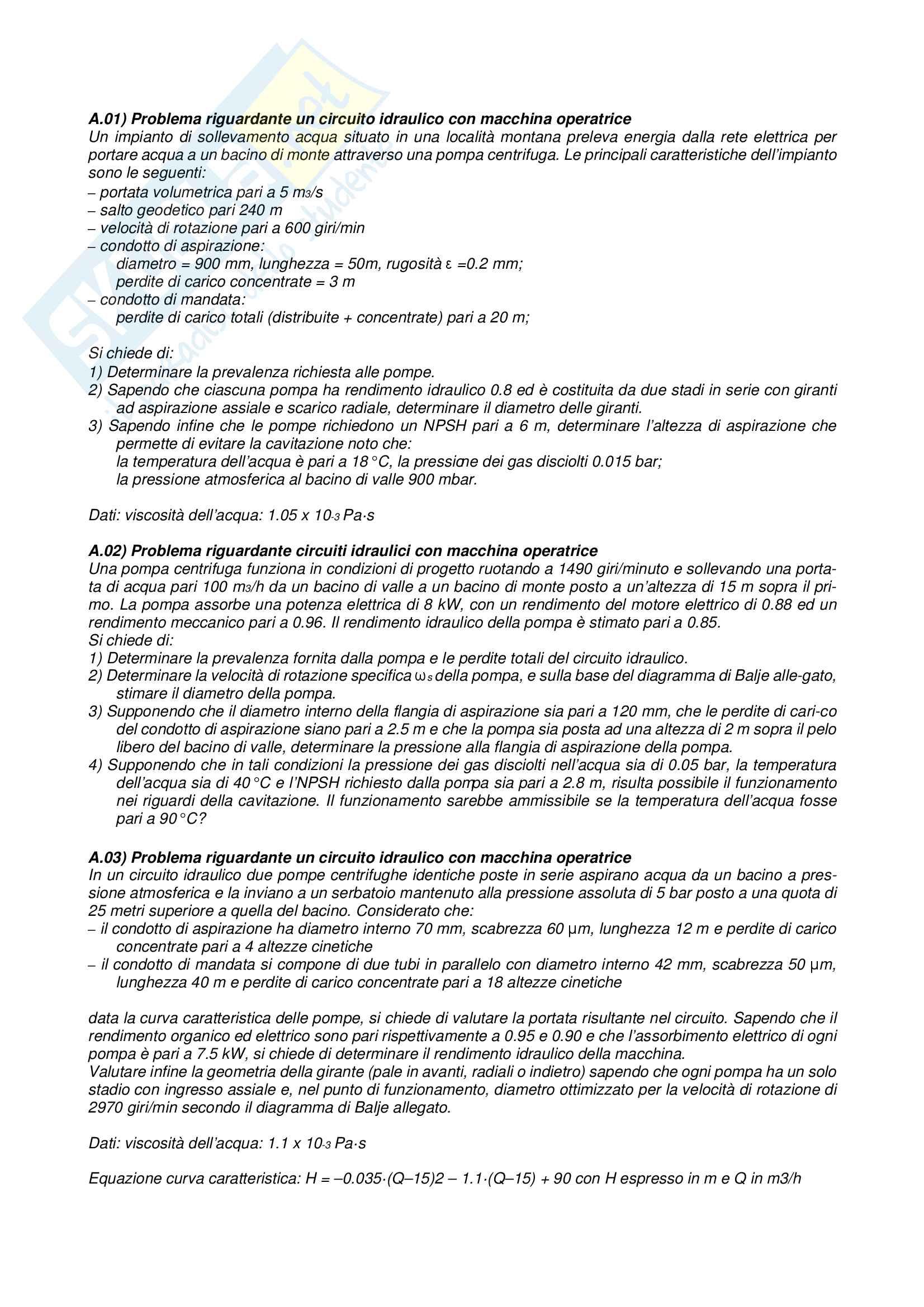 Esercizi e temi d'esame svolti di Macchine e Sistemi Energetici
