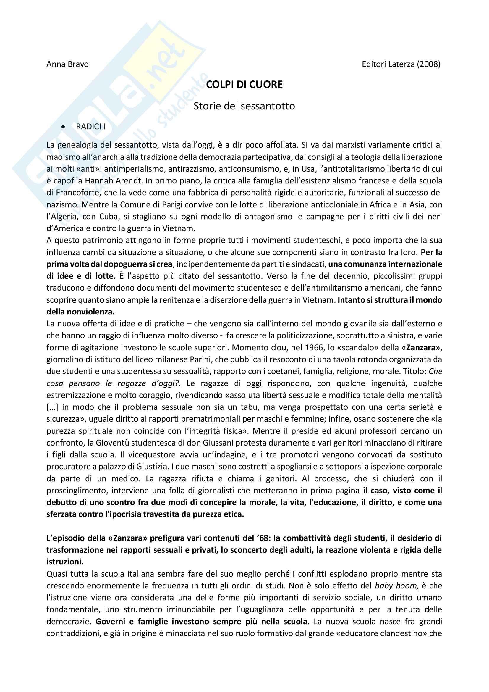 Riassunto esame storia contemporanea, prof. Daniela Calanca, libro consigliato Colpi di cuore - Storie del Sessantotto