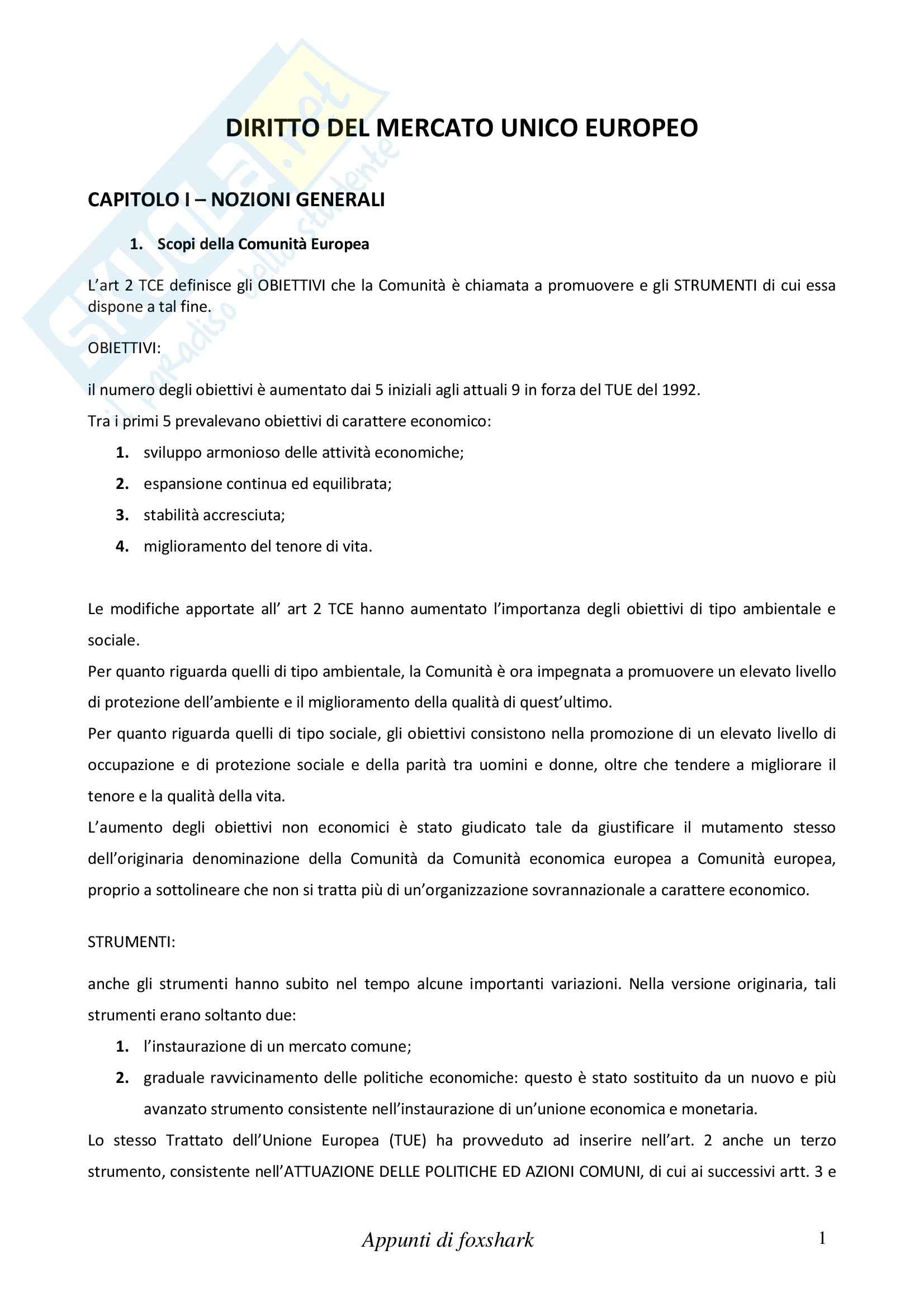 Riassunto esame Diritto Internazionale e dell'Economia, prof. Cannizzaro, libro consigliato Diritto del Mercato Unico Europeo, Daniele
