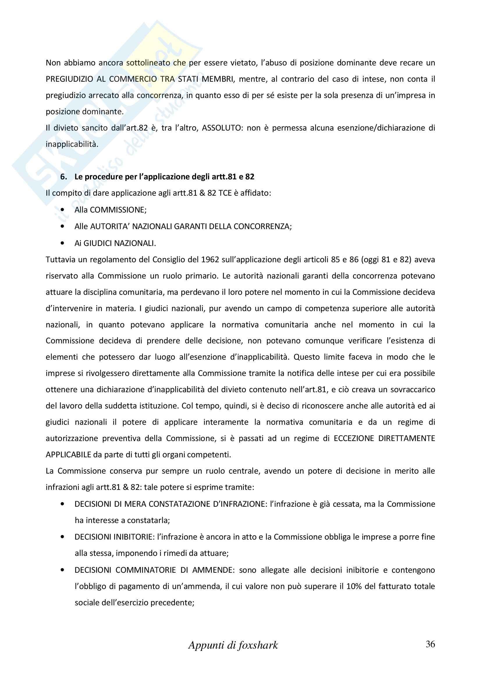 Riassunto esame Diritto Internazionale e dell'Economia, prof. Cannizzaro, libro consigliato Diritto del Mercato Unico Europeo, Daniele Pag. 36