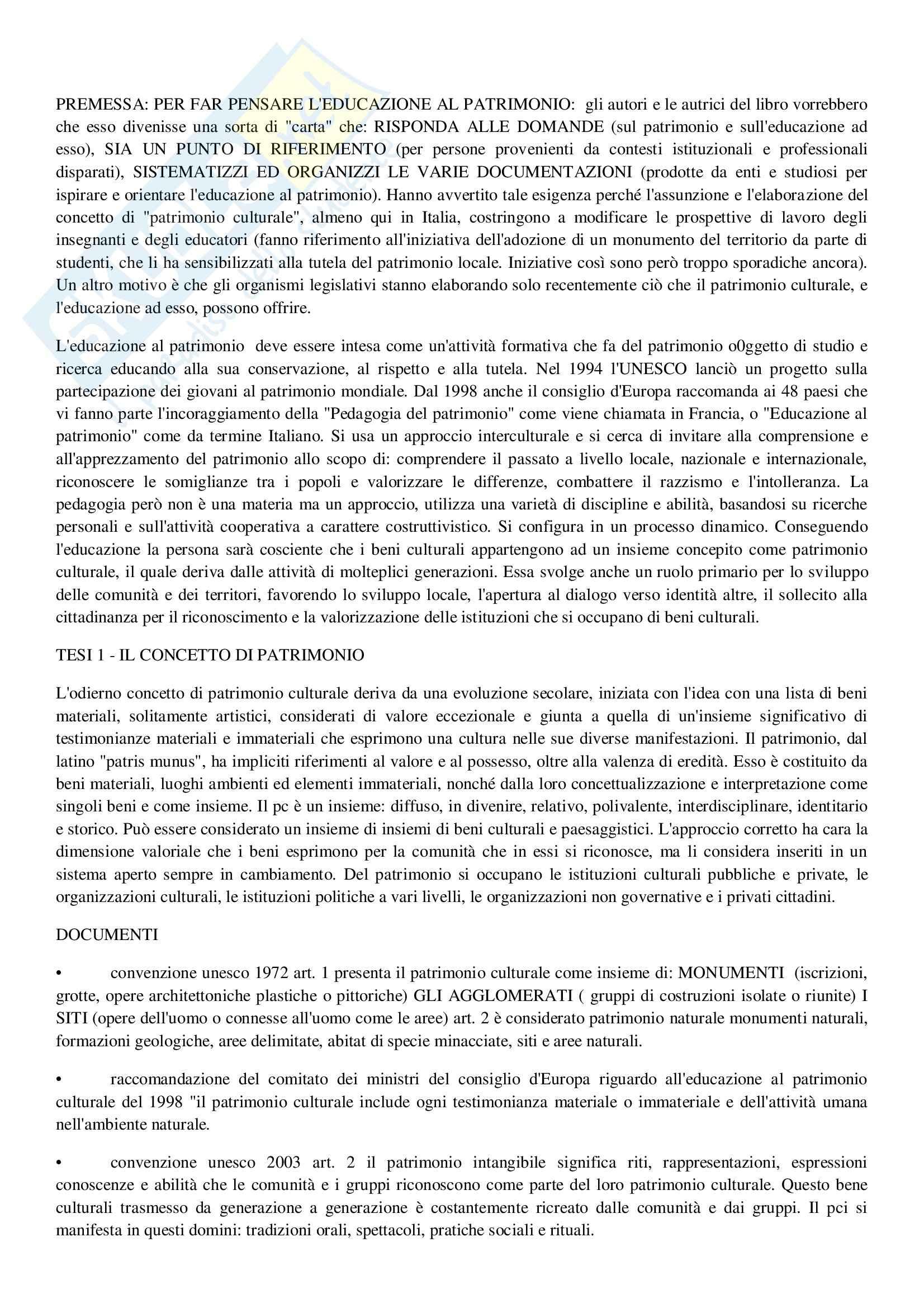 Riassunto esame Antropologia, prof. Rossi, libro consigliato Per l'educazione al patrimonio culturale. 22 tesi, Mascheroni, Mattozzi