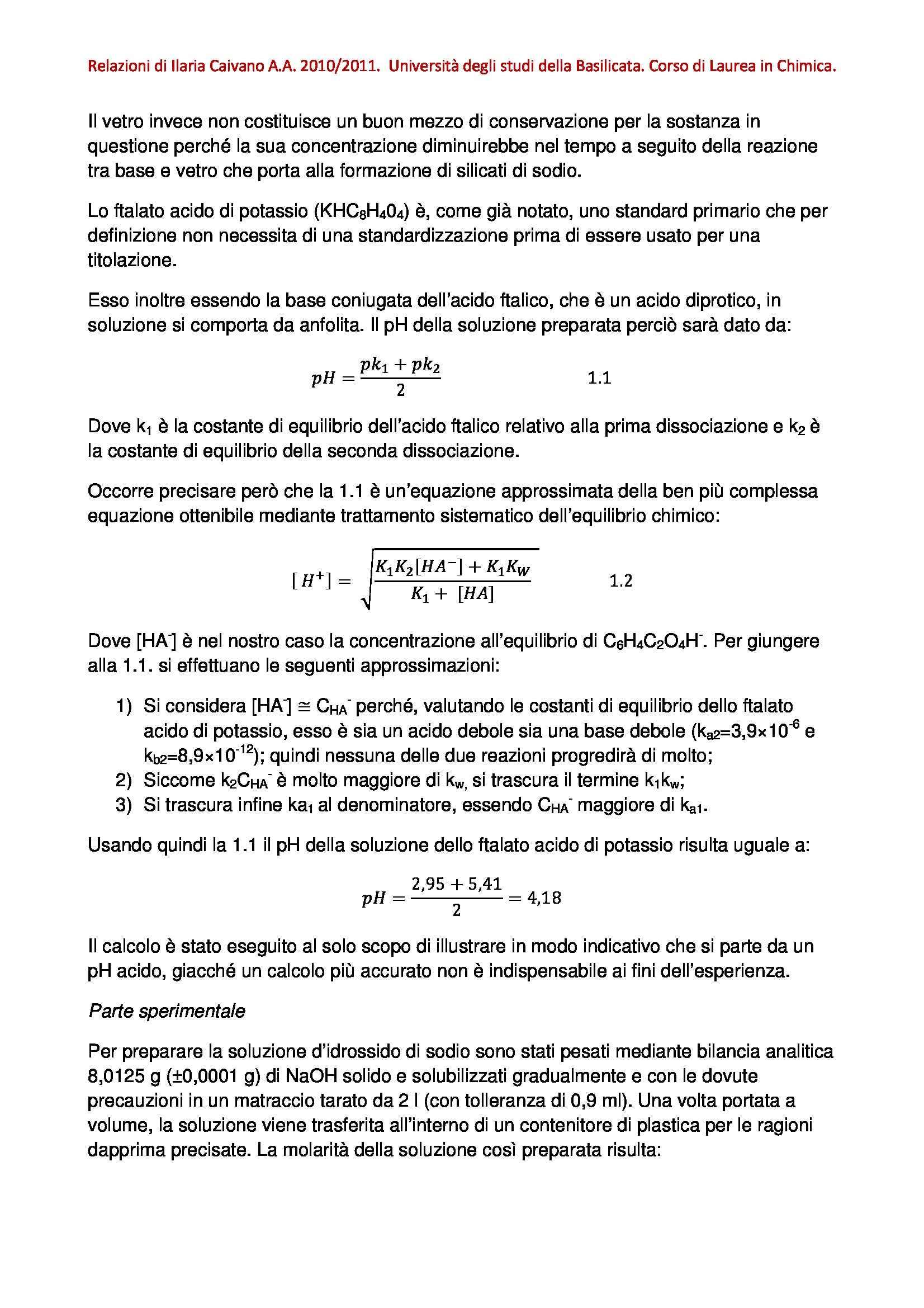 Laboratorio di Chimica Analitica 2 - standardizzazione di una soluzione di NaOH Pag. 2