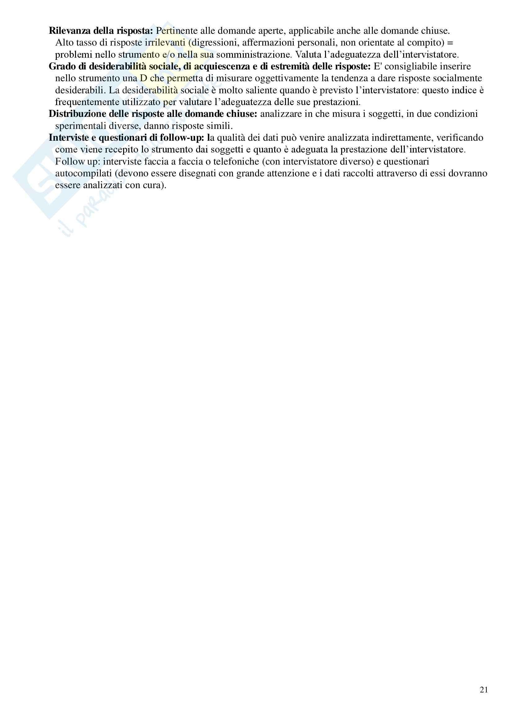 Riassunto esame Tecniche dell'intervista e del questionario, prof. Zammuner Pag. 21