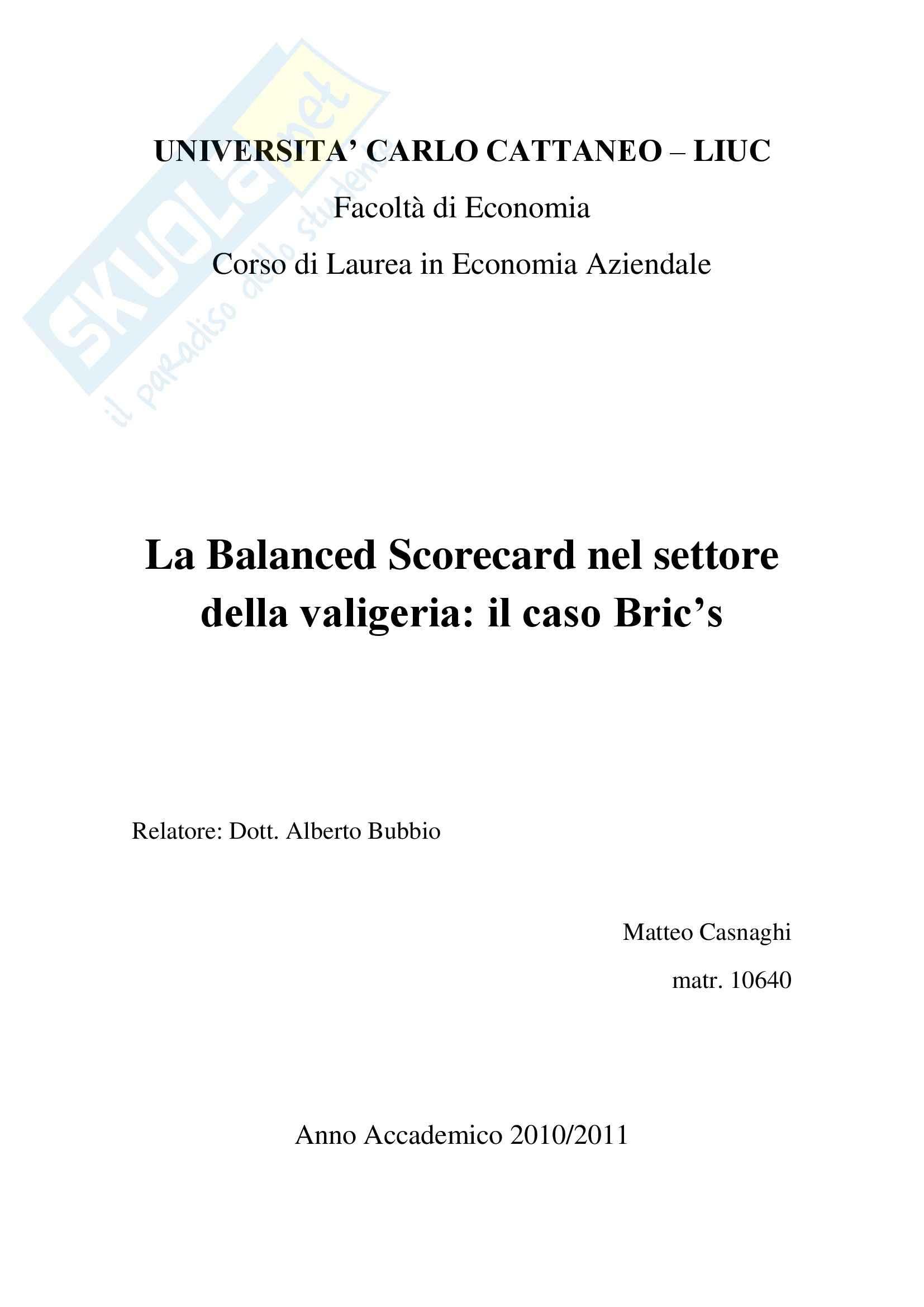 Balance Scorecard nel settore della valigeria: il caso Bric's, Programmazione e controllo