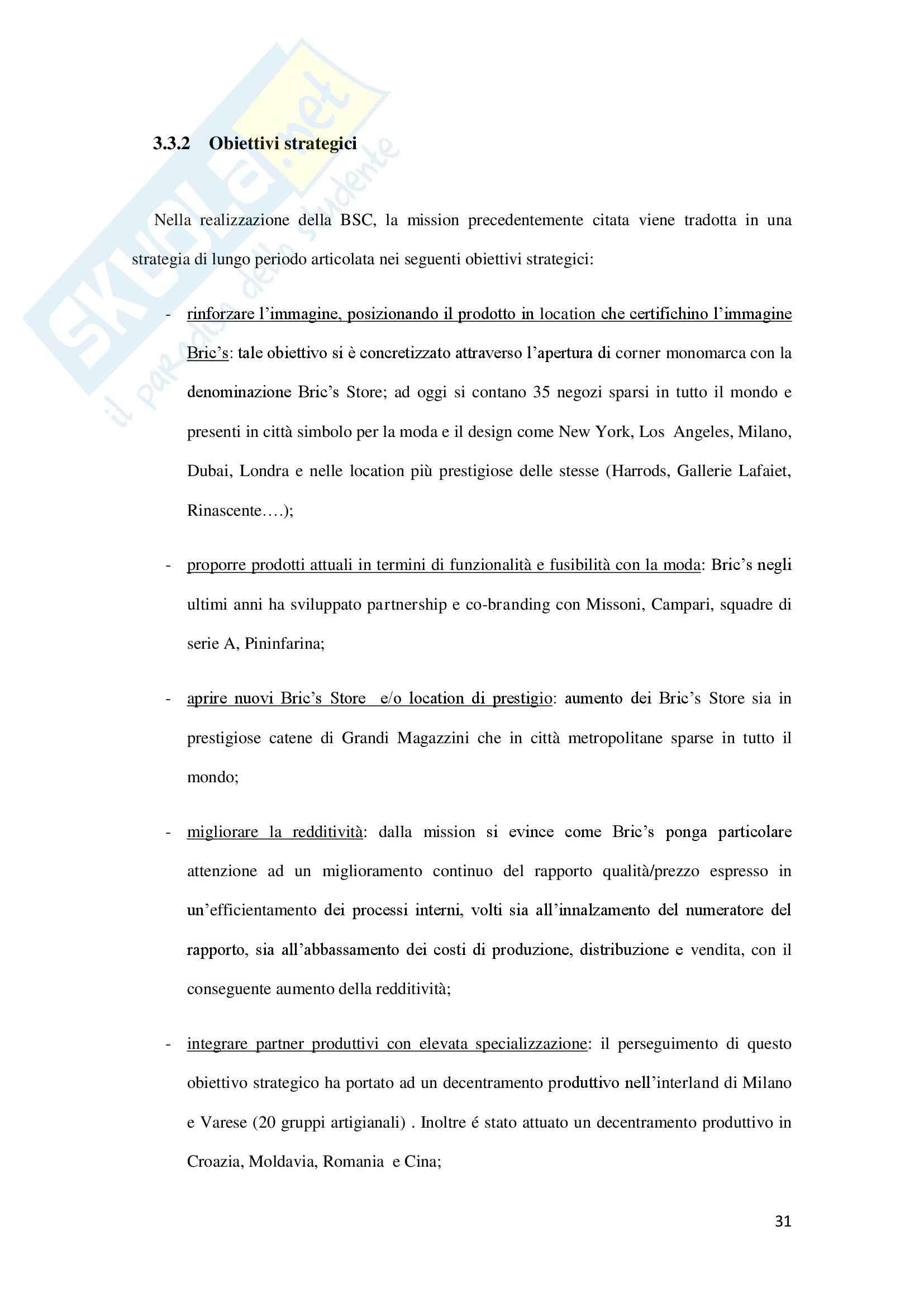 Balance Scorecard nel settore della valigeria: il caso Bric's, Programmazione e controllo Pag. 31
