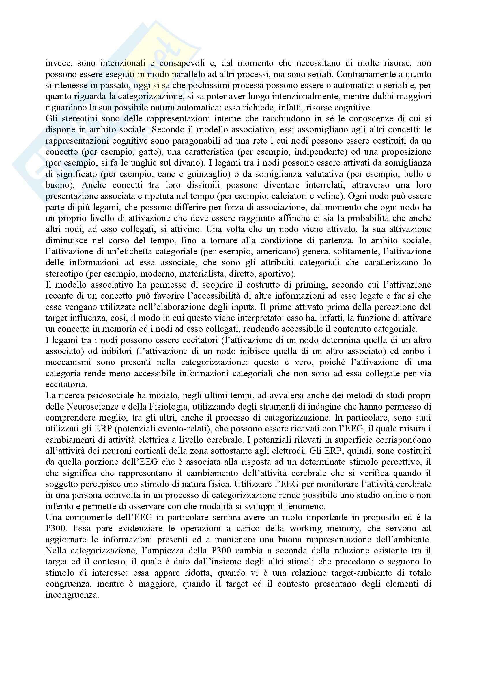 Riassunto esame Psicologia sociale, prof. Mosso, libro consigliato Parole e categorie: La cognizione nei contesti intergruppi, Carnaghi, Arcuri Pag. 2