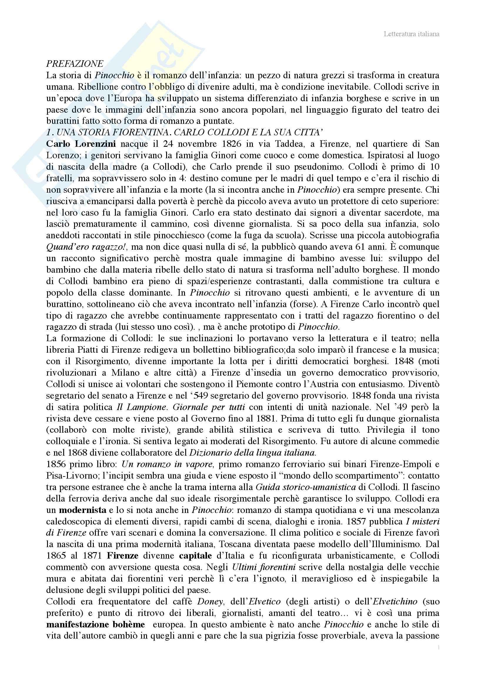 Riassunto esame Letteratura italiana, prof. Benvenuti, libro consigliato Pinocchio o il romanzo d'infanzia, Richter
