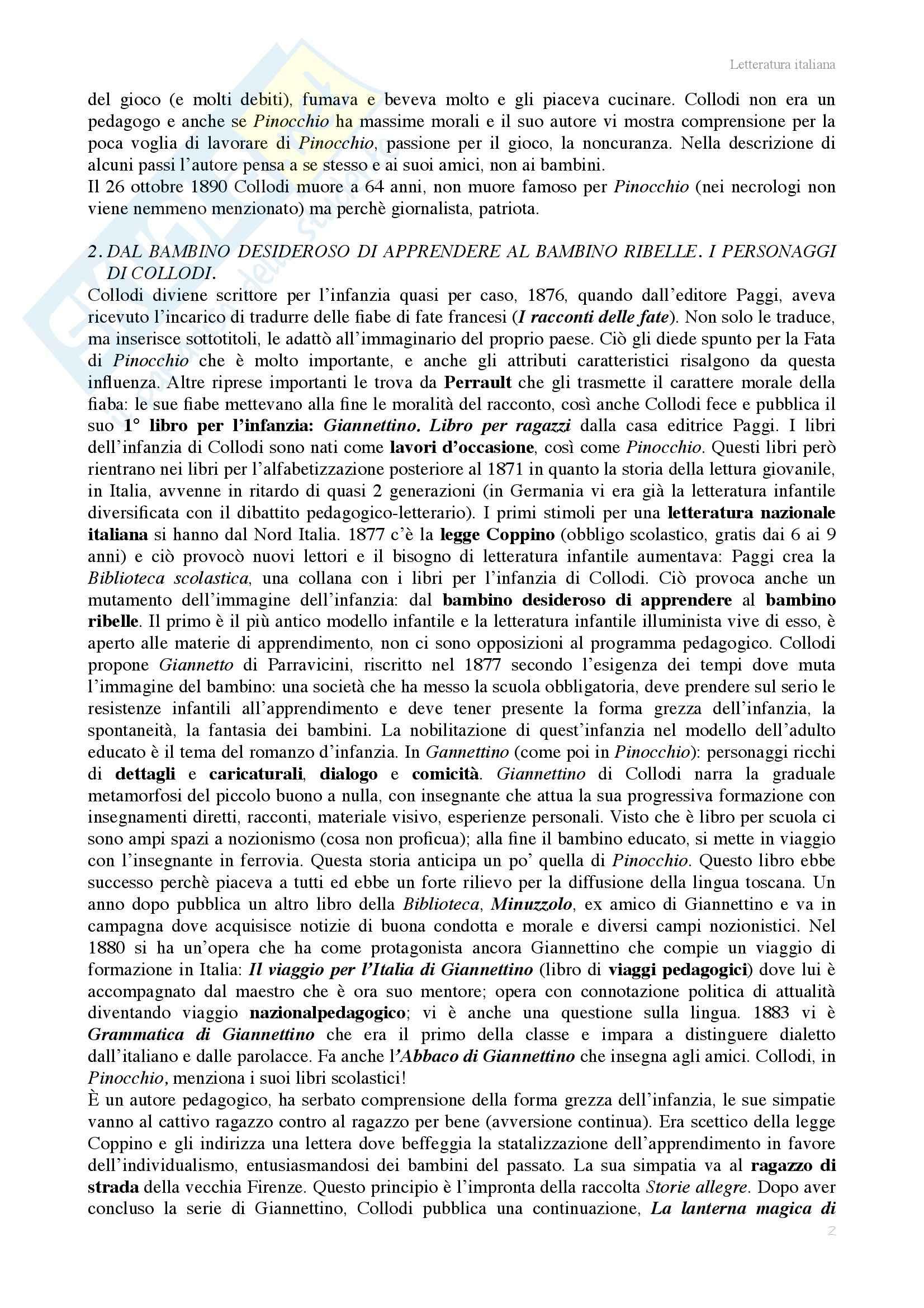 Riassunto esame Letteratura italiana, prof. Benvenuti, libro consigliato Pinocchio o il romanzo d'infanzia, Richter Pag. 2