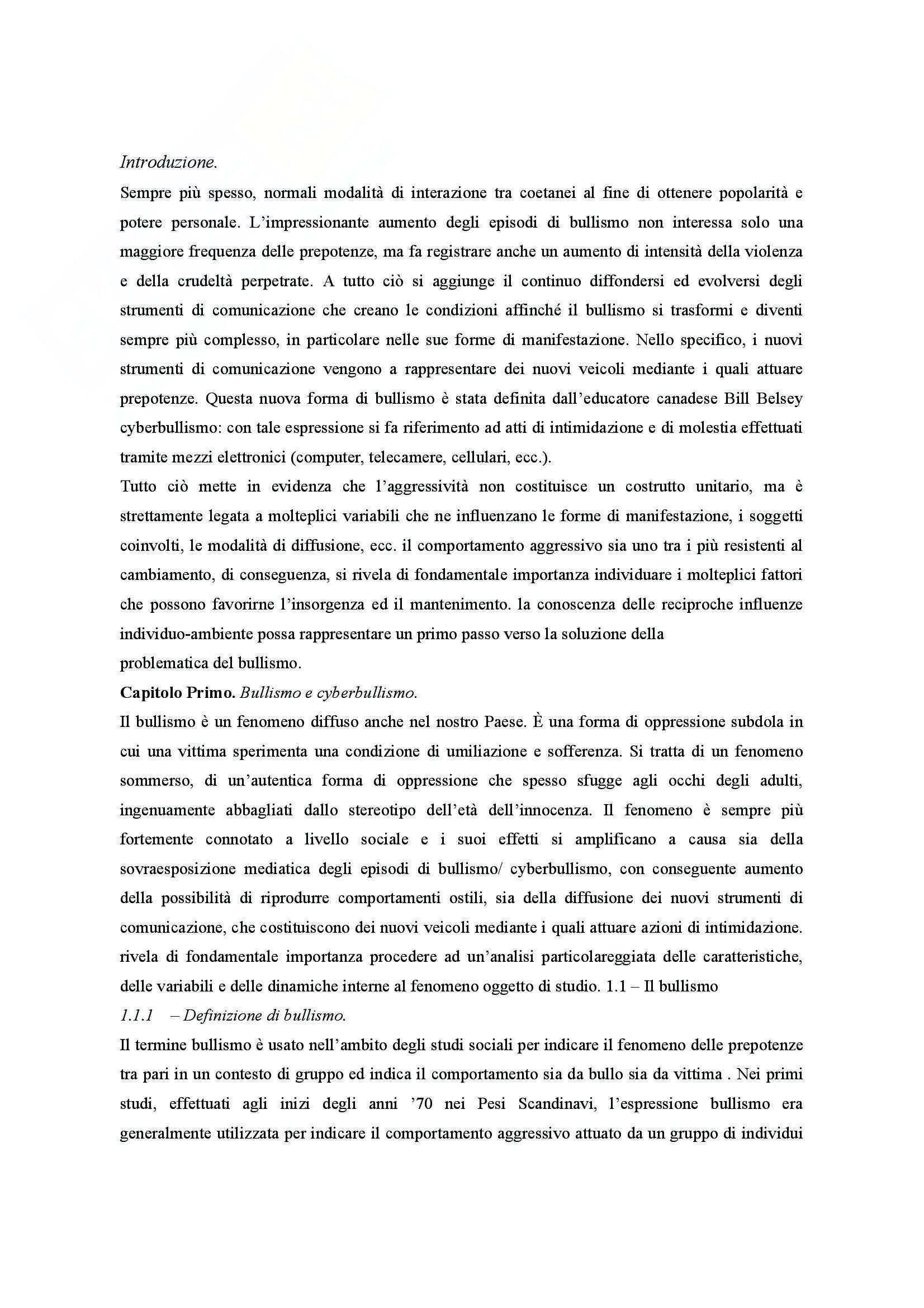 Riassunto esame Pedagogia clinica, prof. Bagnato, libro consigliato Il cyberbullismo