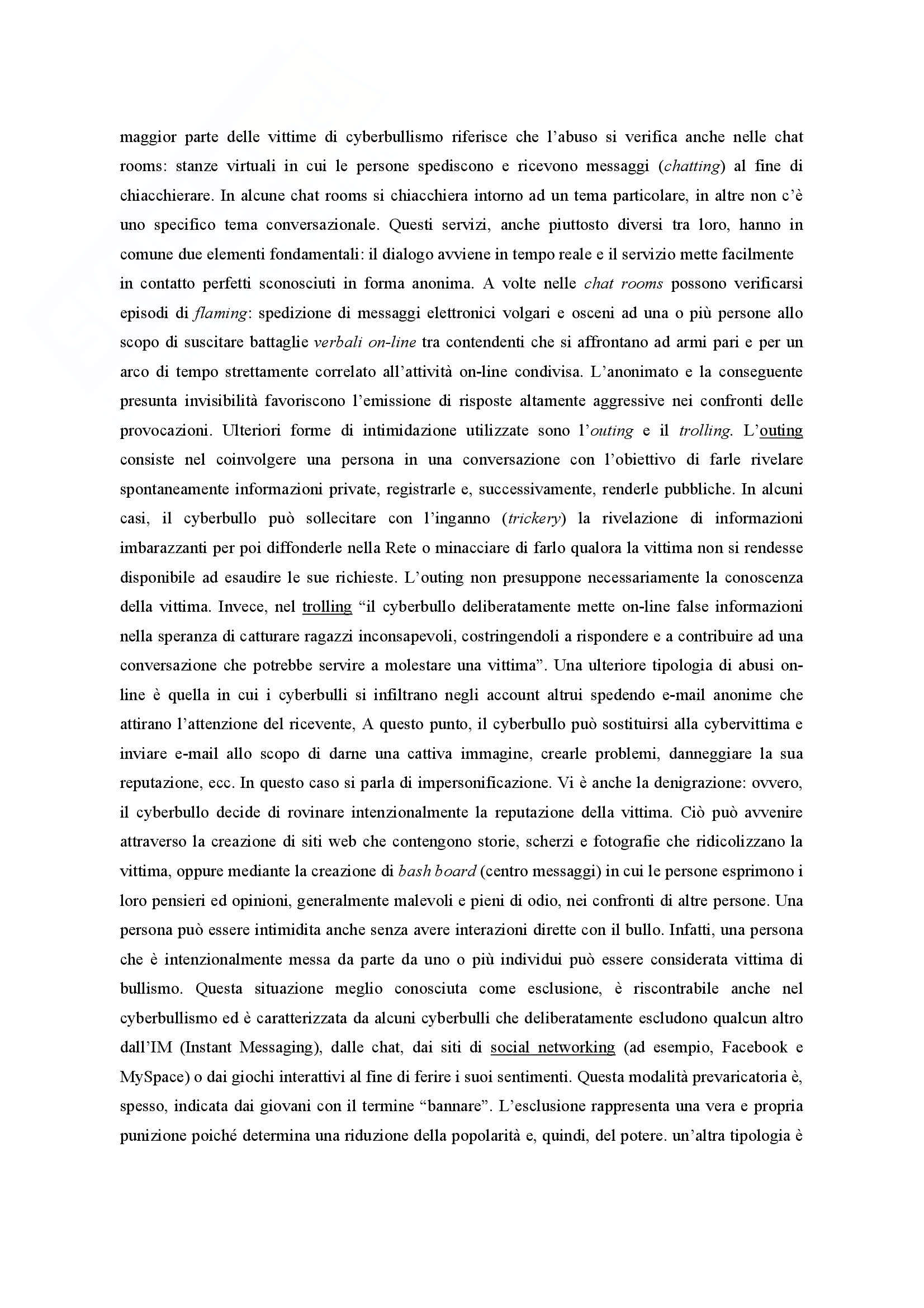 Riassunto esame Pedagogia clinica, prof. Bagnato, libro consigliato Il cyberbullismo Pag. 11