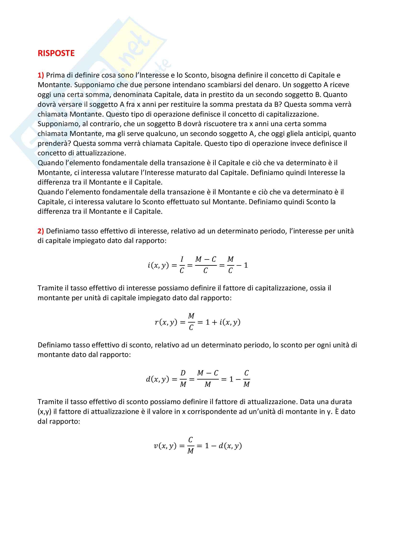 Domande e risposte d'esame di Matematica Finanziaria