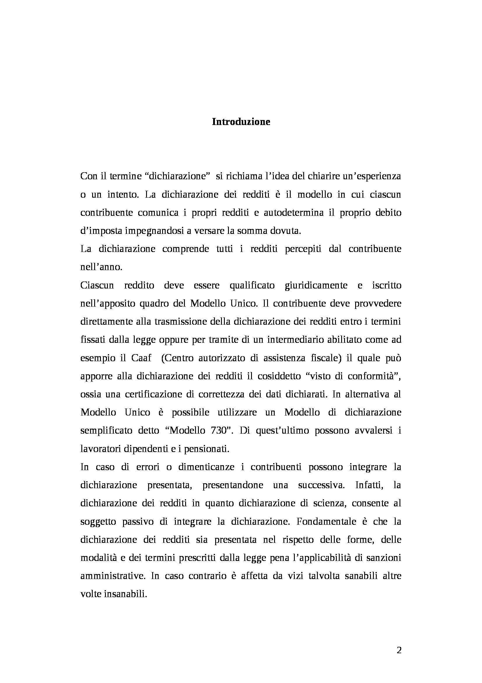 Tesi - Dichiarazione dei redditi Pag. 2