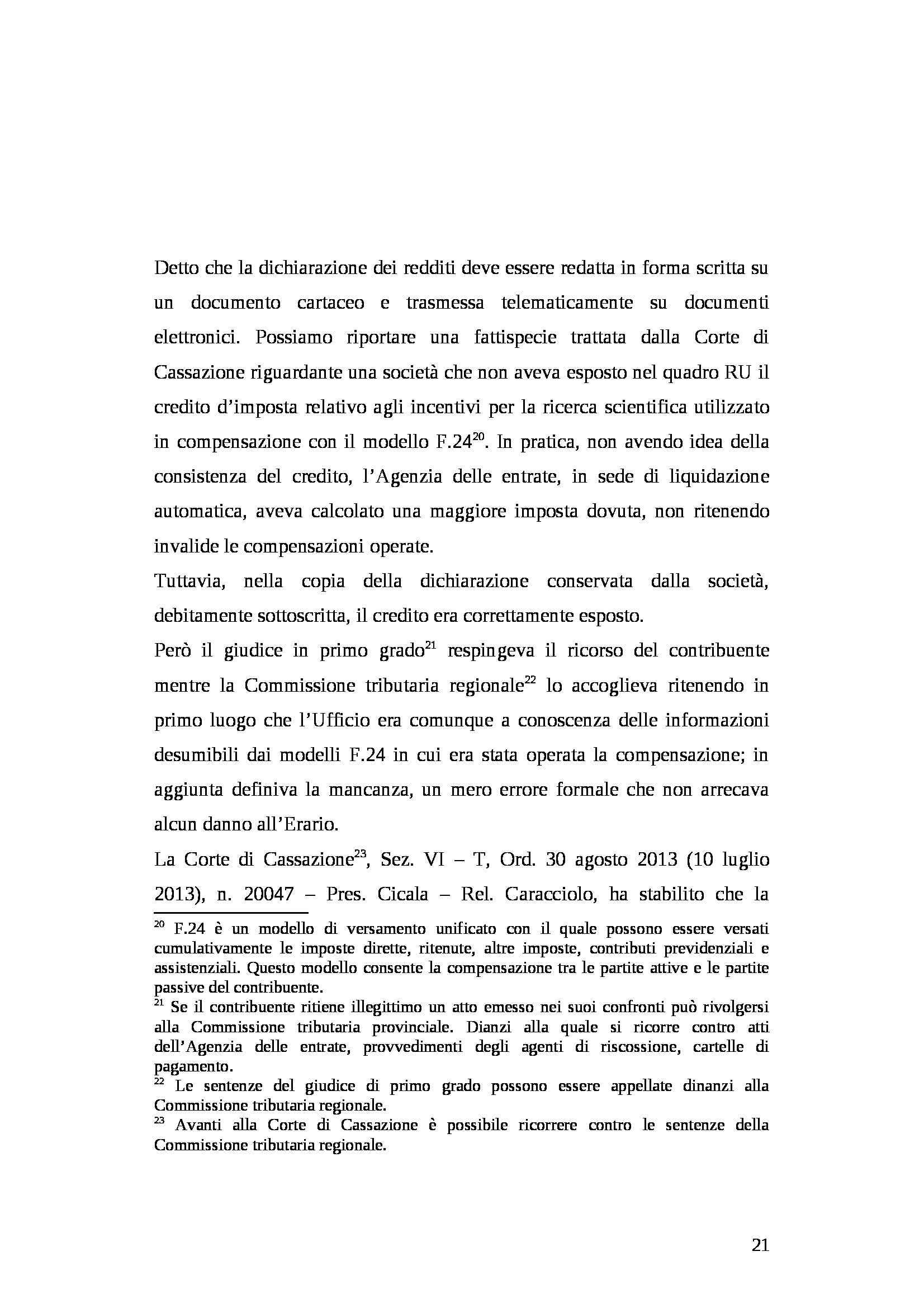 Tesi - Dichiarazione dei redditi Pag. 21
