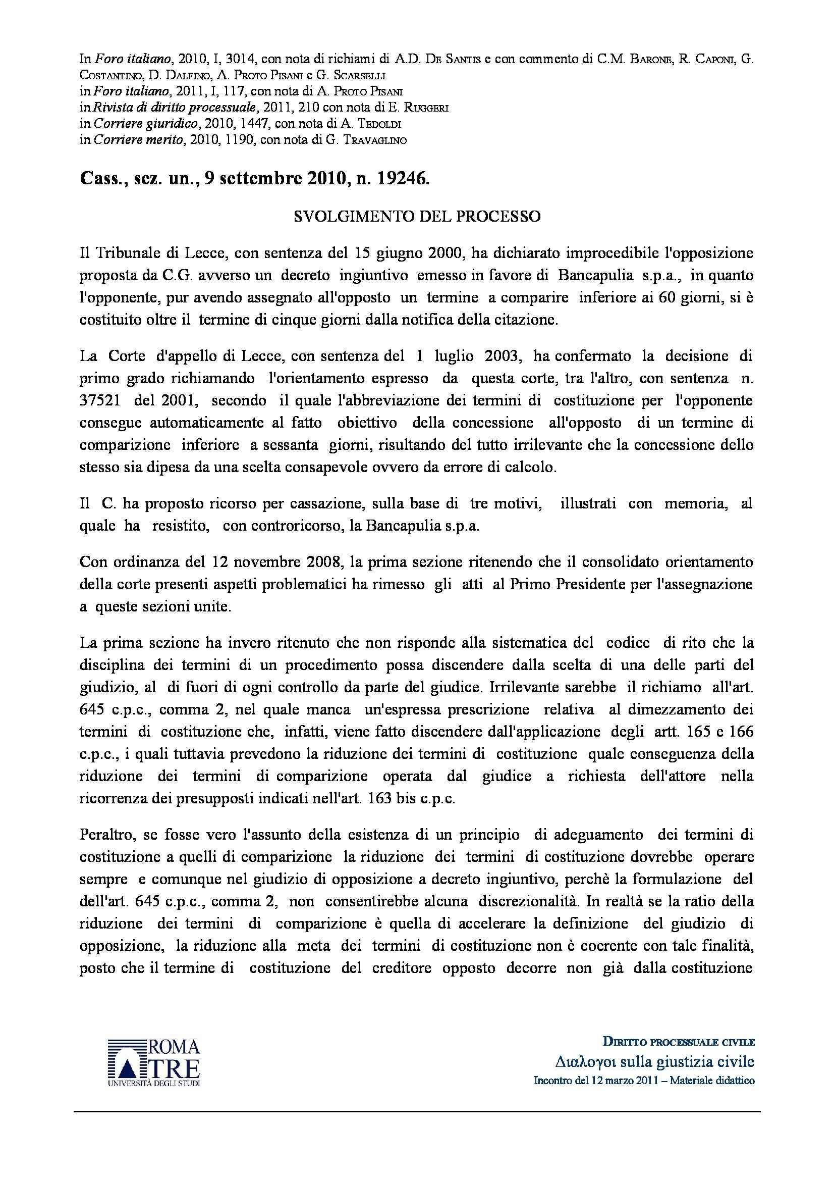Opposizione decreto ingiuntivo e termini - C.Cass. n. 19246/10
