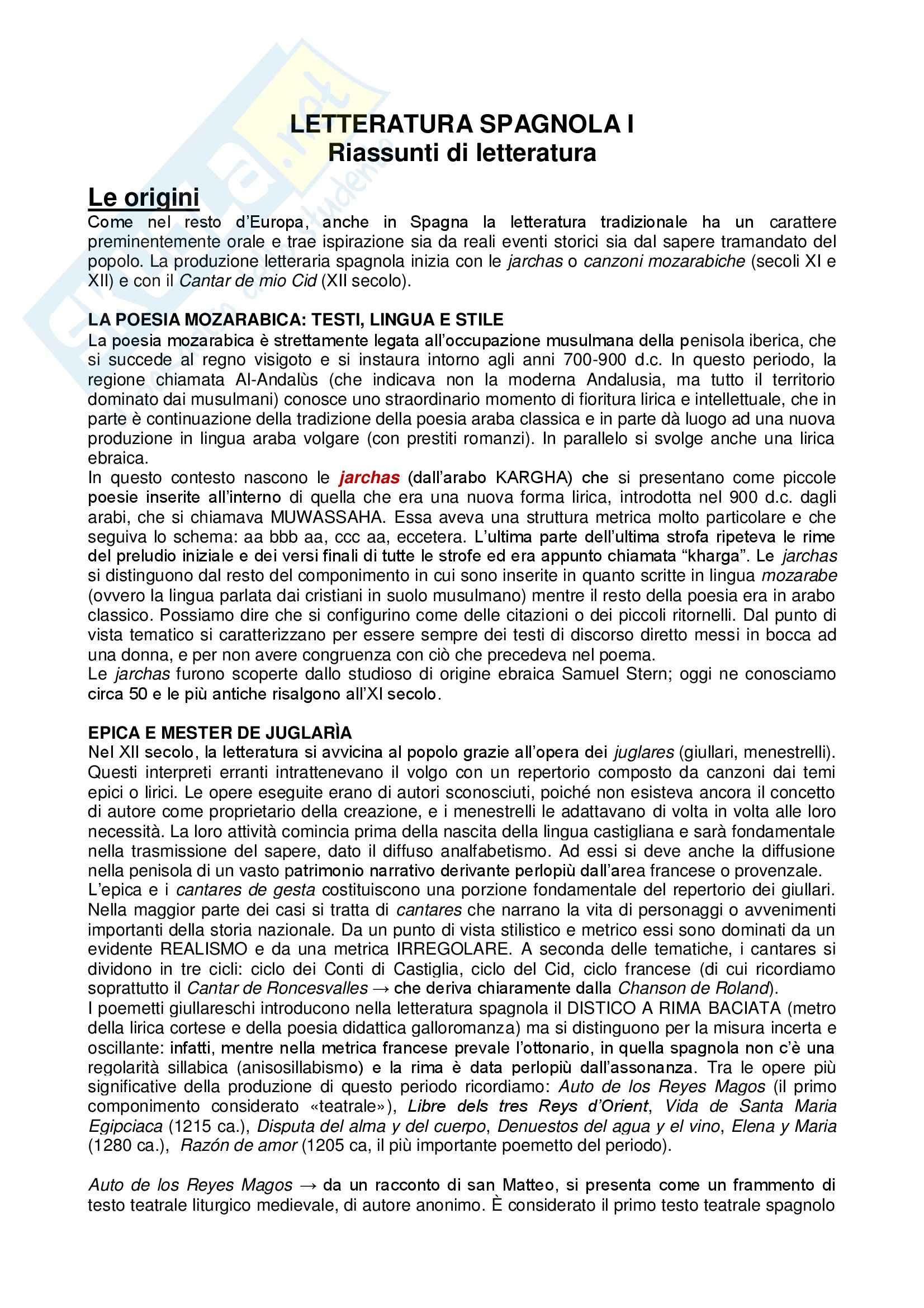 appunto I. Tomassetti Letteratura spagnola