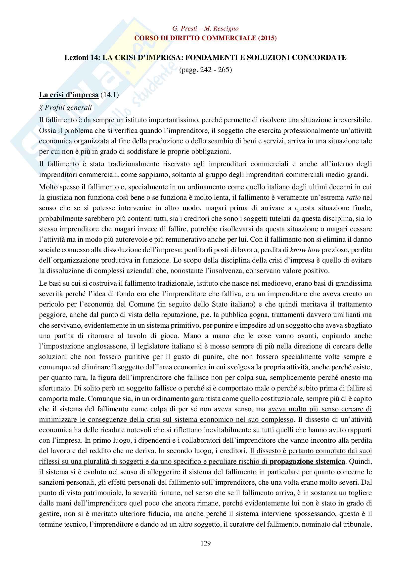 Appunti per esame di diritto commerciale La legge fallimentare