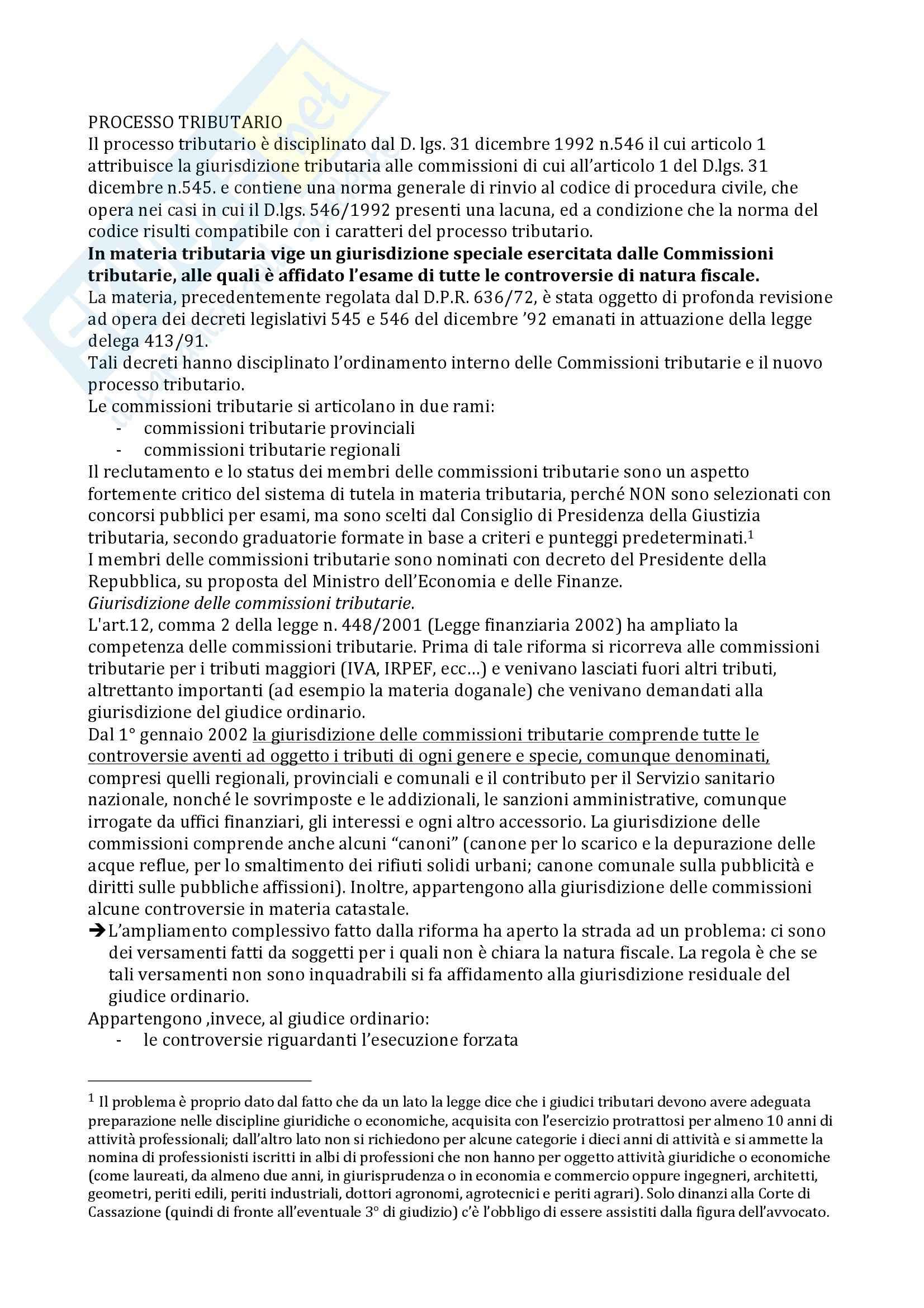 Riassunto esame Diritto tributario, prof. Fregni, libro consigliato Diritto tributario, Tesauro: parte 2